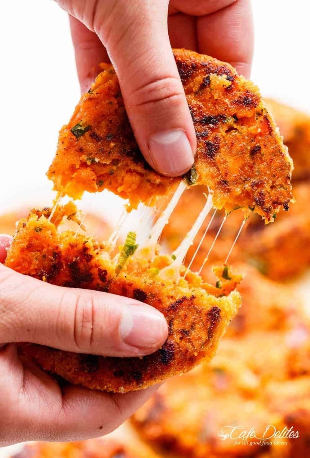 Cheesy Mashed Sweet Potato Cakes