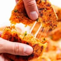Cheesy Mashed Sweet Potato Cakes are the perfect snack! Cheesy on the inside, so crispy on the outside, and so easy to make!   https://cafedelites.com