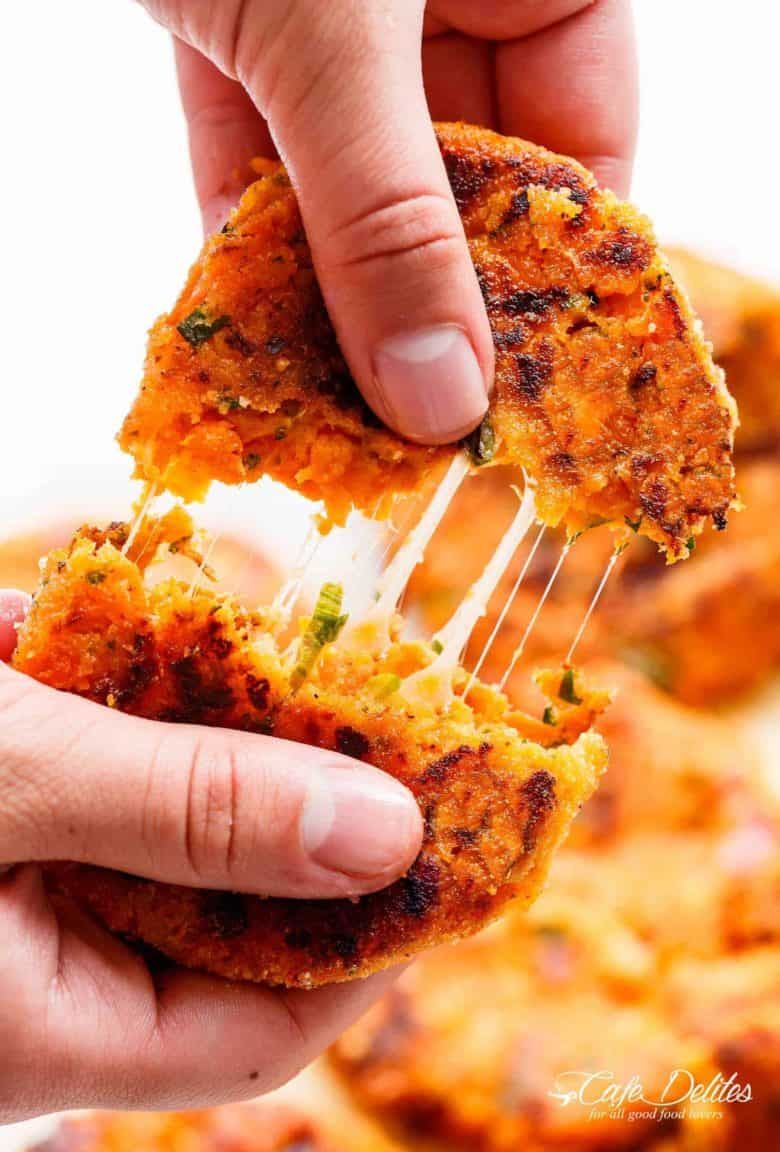 Cheesy Mashed Sweet Potato Cakes are the perfect snack! Cheesy on the inside, so crispy on the outside, and so easy to make! | https://cafedelites.com