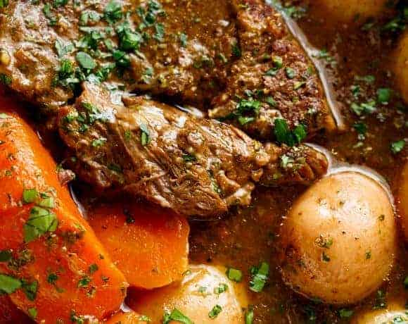 Slow Cooked Balsamic Pot Roast is perfect for an easy weekday or weekend dinner! Minimal work and maximum taste happens underneaththat slow cooker lid! | cafedelites.com