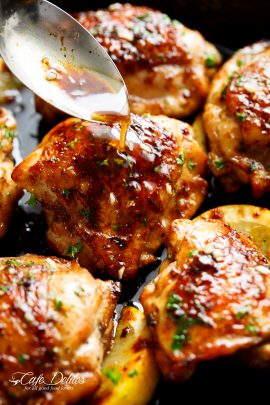 Browned Butter Honey Garlic Chicken is a deliciously simple recipe that has been requested time and time again! Chicken thighs OR breasts cooked in browned butter infused with honey, garlic and lemon juice. Simple ingredients and maximum flavours! | CAFEDELITES.COM