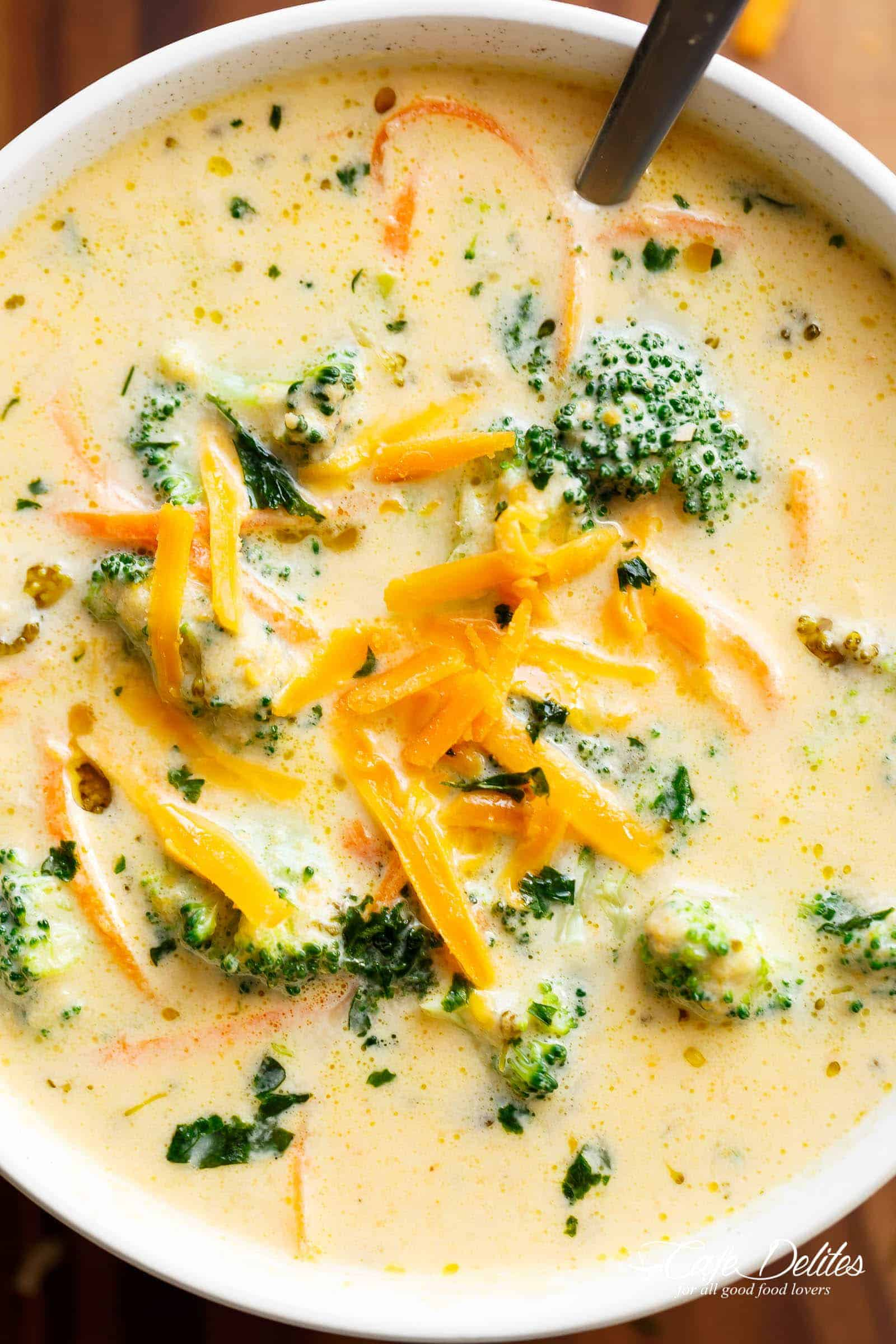 Broccoli Cheese Soup is so good you'll be eating it right out of the pot! | cafedelites.com