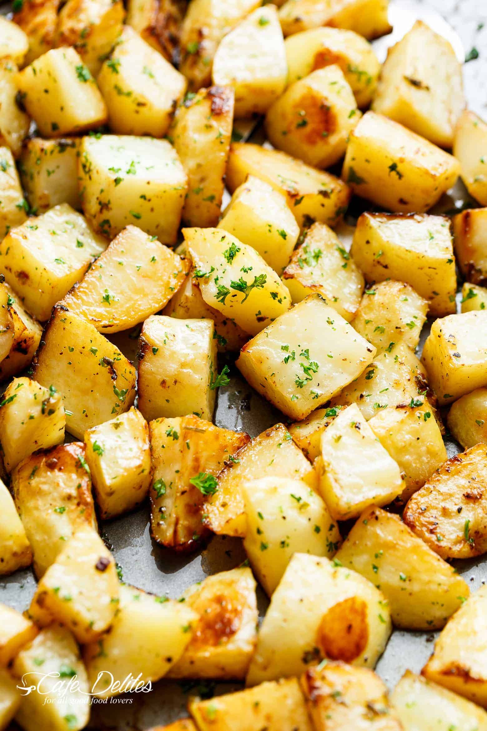 Crispy Garlic Roasted Potatoes Cafe Delites