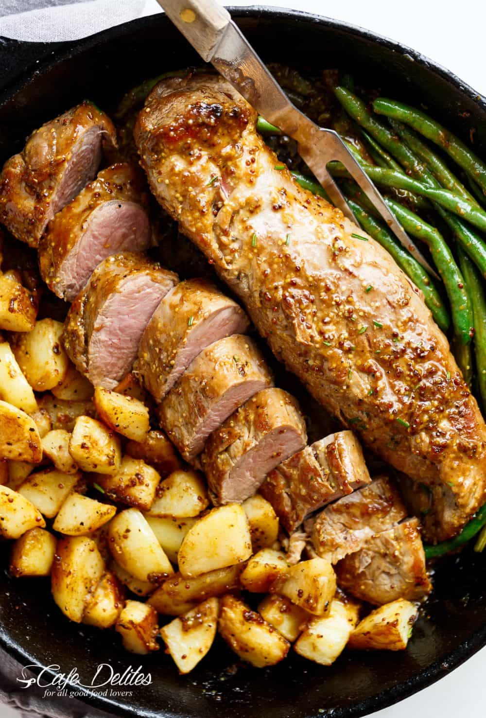 One Pan Dijon Garlic Pork Tenderloin & Veggies