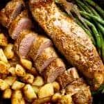 One Pan Dijon Garlic Pork Tenderloin & Veggies