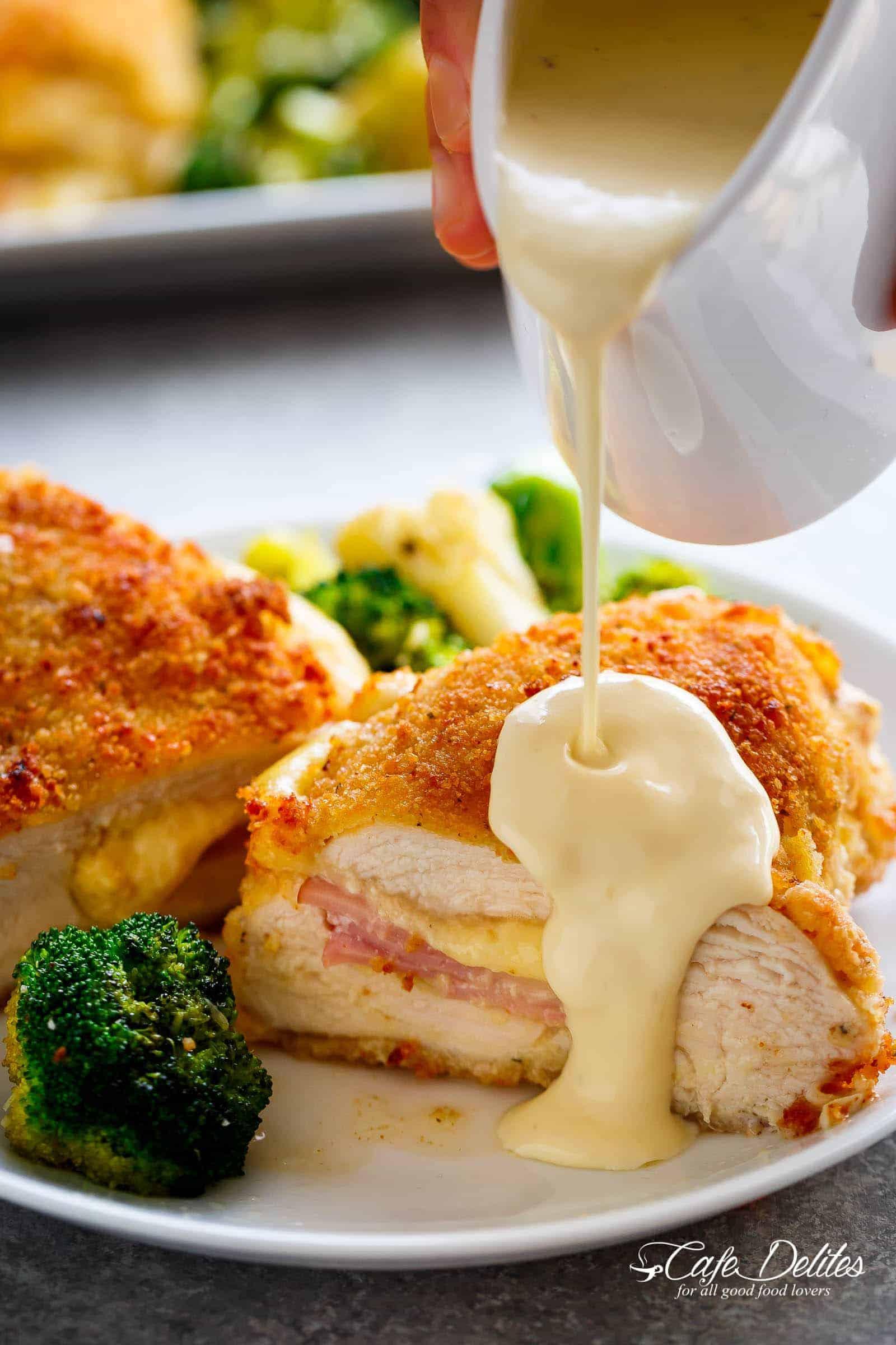 Easy Sheet Pan Chicken Cordon Bleu Amp Dijon Cream Sauce