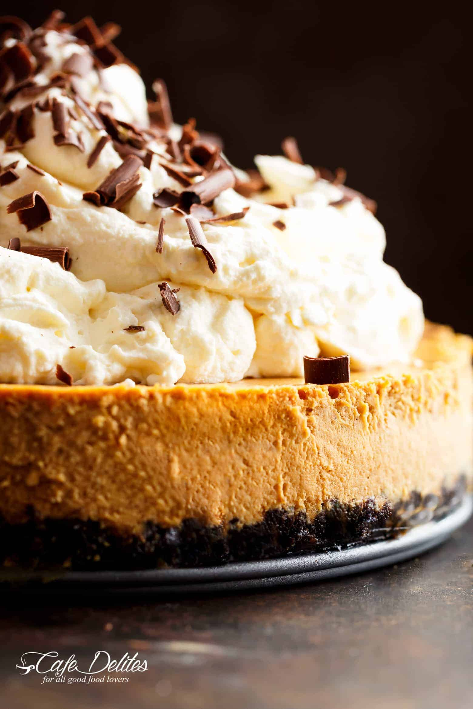 Chocolate Pumpkin Cheesecake (Optional Bourbon Whipped ...