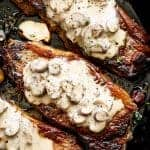 Pan Seared Garlic Butter Steak & Mushroom Cream Sauce