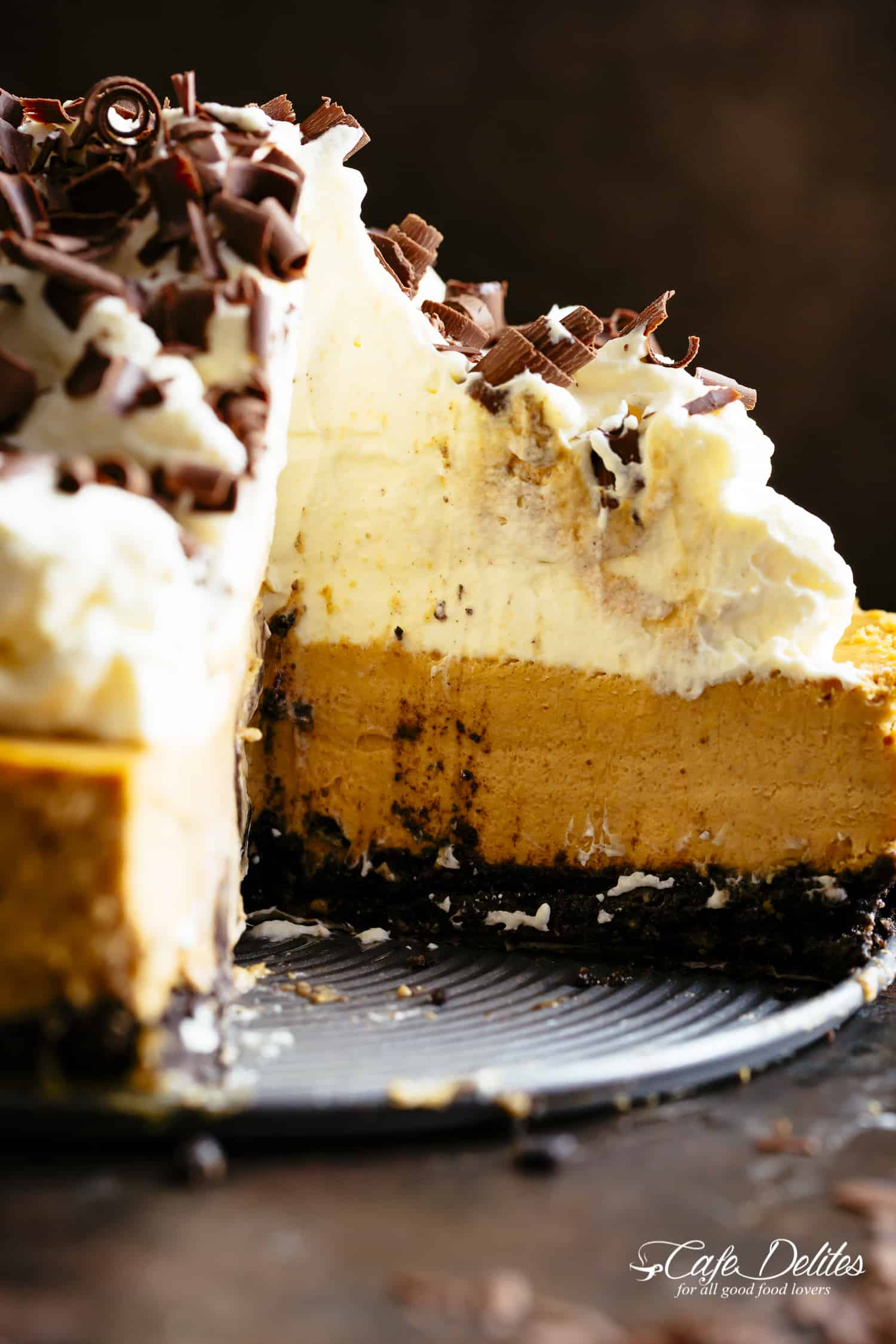 Pumpkin Cheesecake with a chocolate cookie base | cafedelites.com