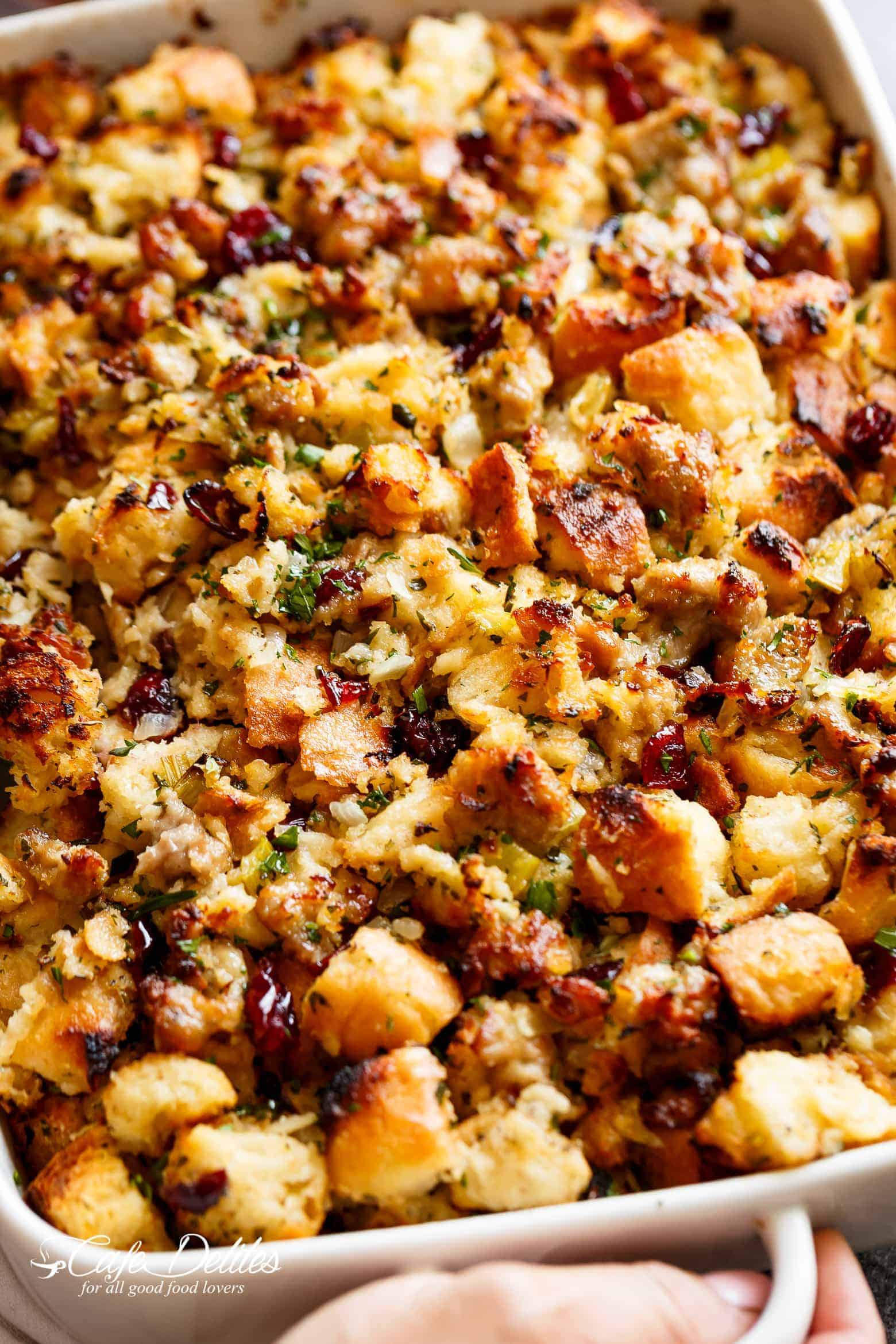 Sausage & Herb Stuffing Recipe is FULLY STUFFED with so much flavour, and perfect for serving as a Thanksgiving side with gravy!