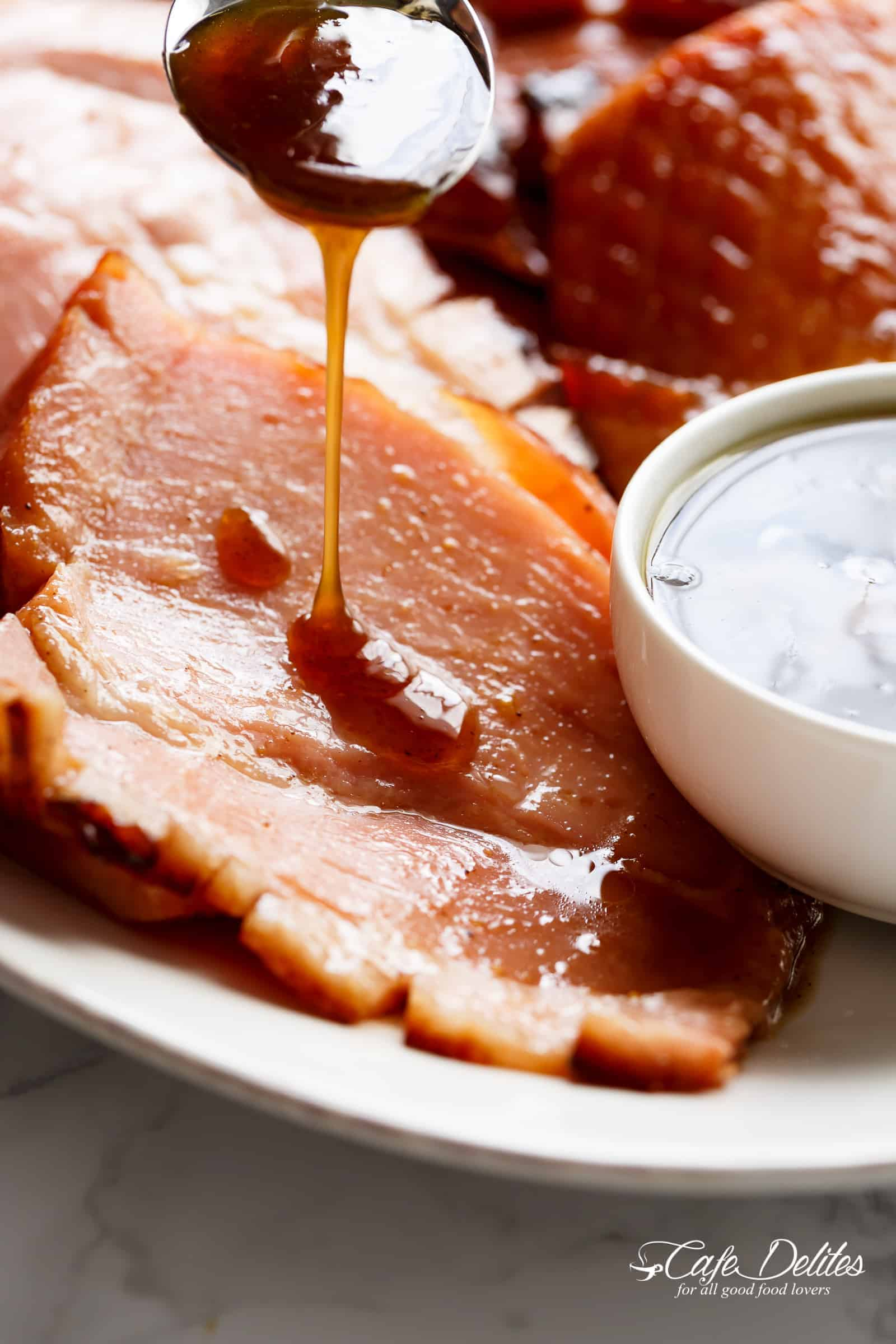 Easy Brown Sugar Mustard Glaze on baked ham | cafedelites.com