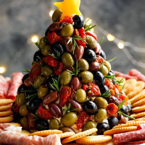 Antipasto Cheese Ball Christmas Tree | cafedelites.com