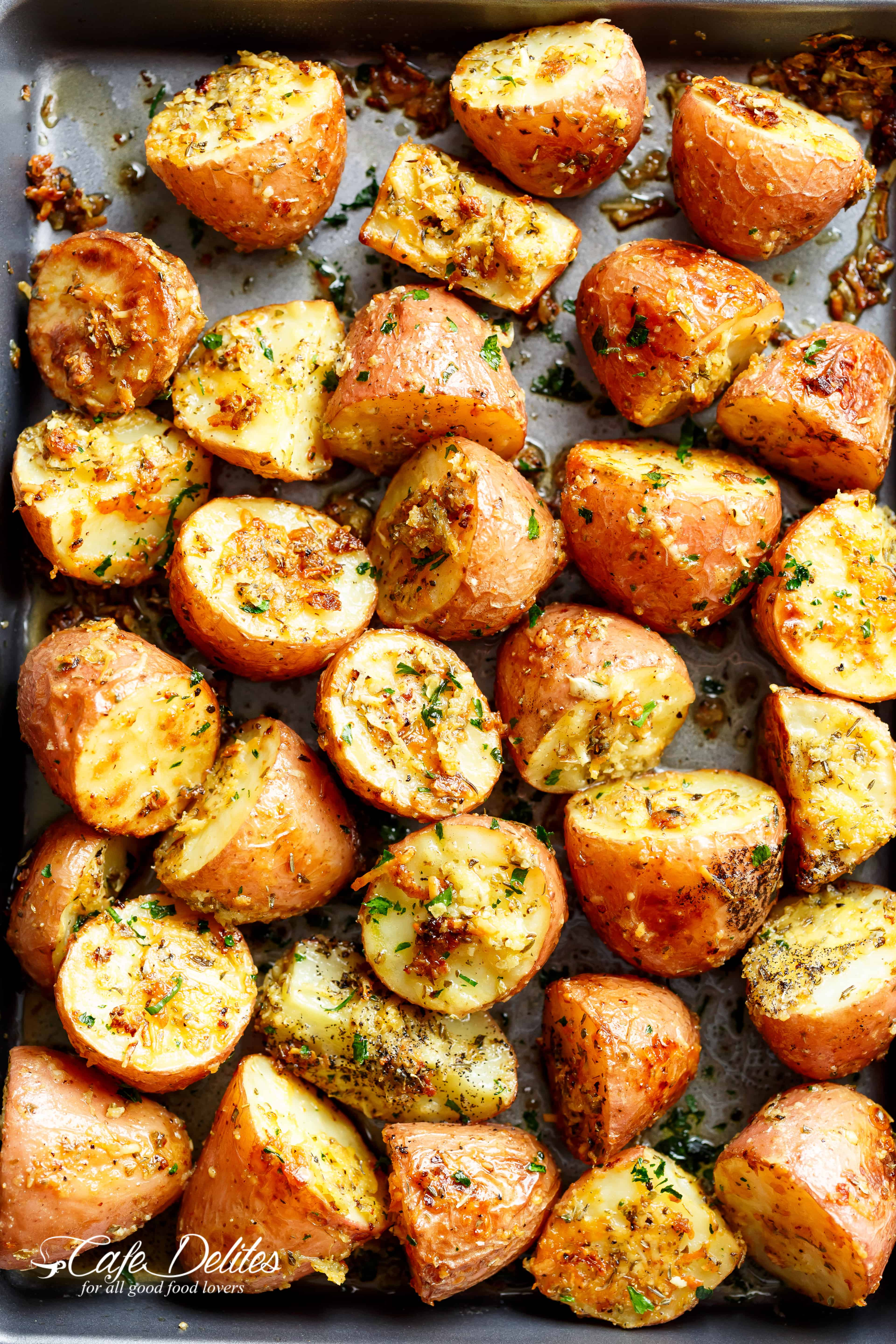 Browned Butter Parmesan Roasted Potatoes - Cafe Delites