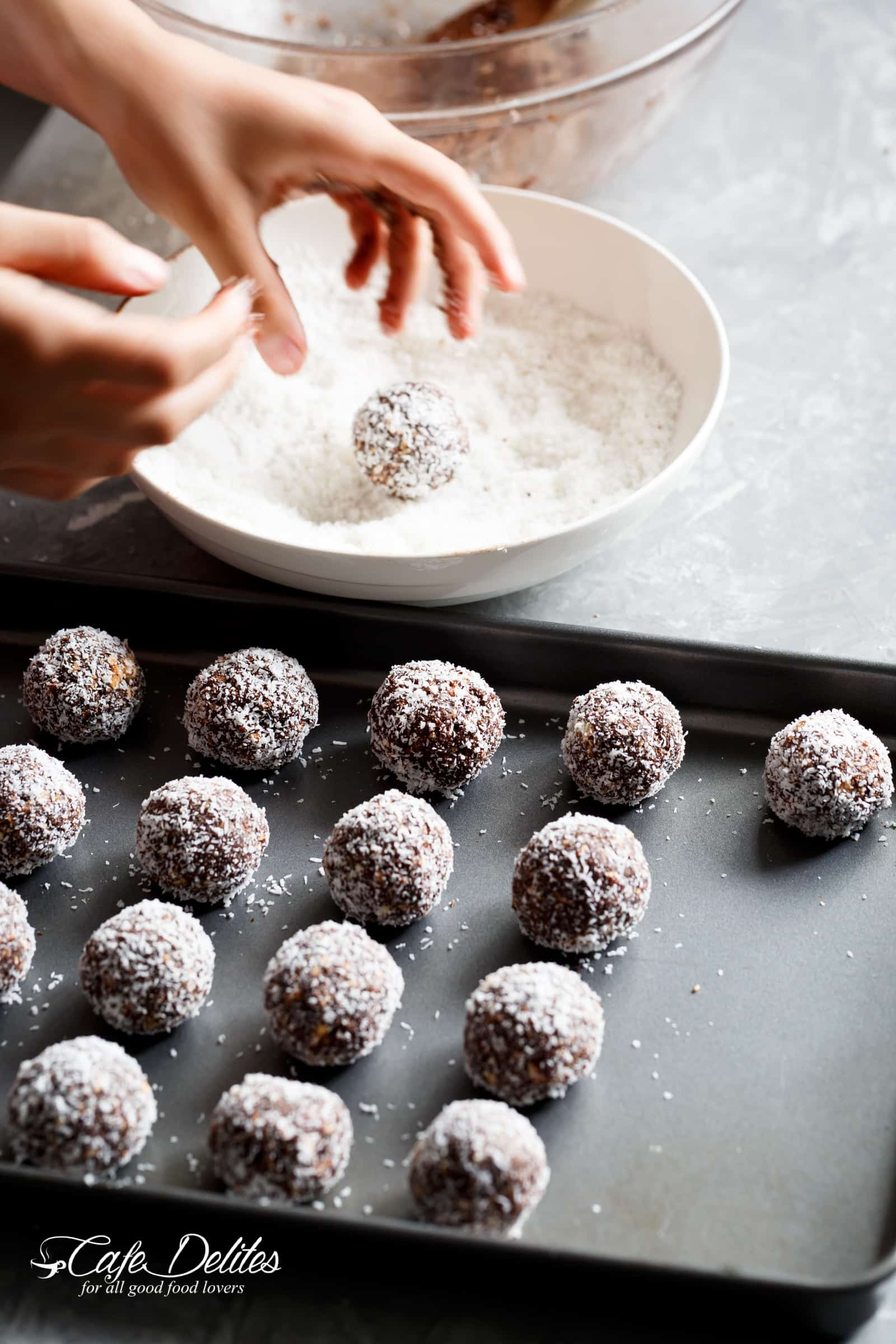 Coconut Chocolate Balls No Bake Cookies | cafedelites.com