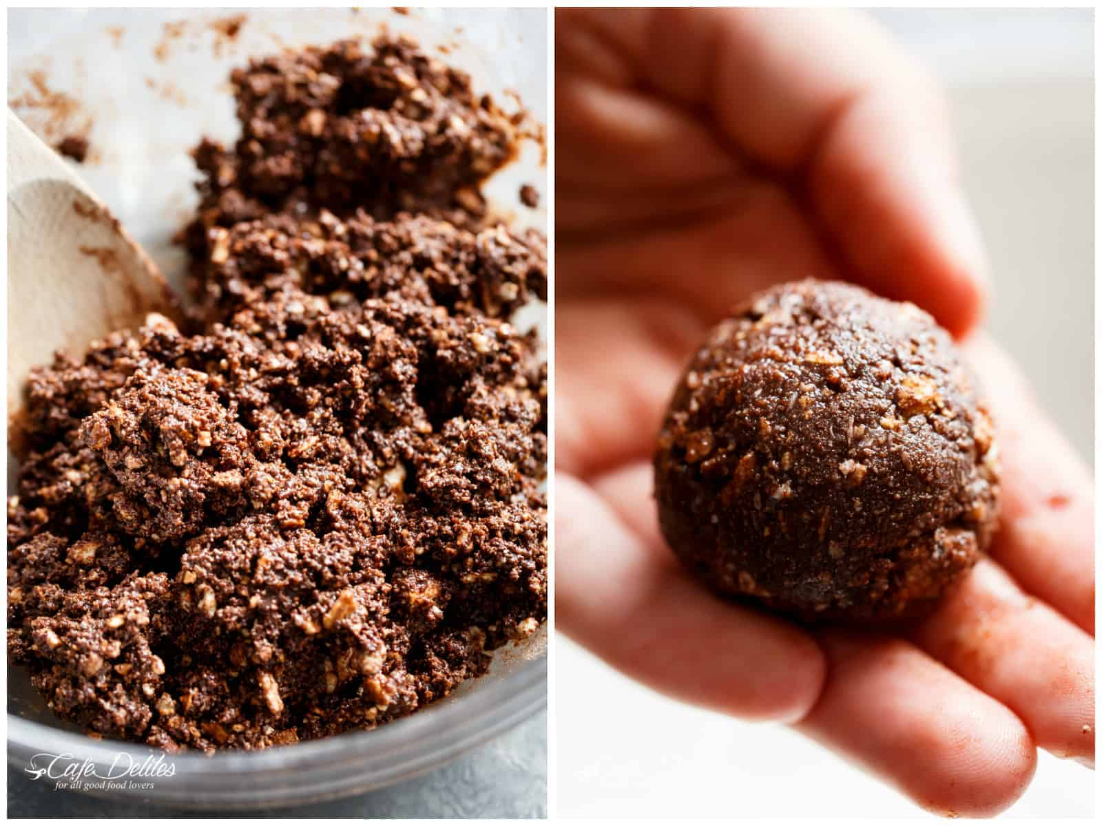 HOW TO MIX AND ROLL Chocolate Coconut Balls | cafedelites.com
