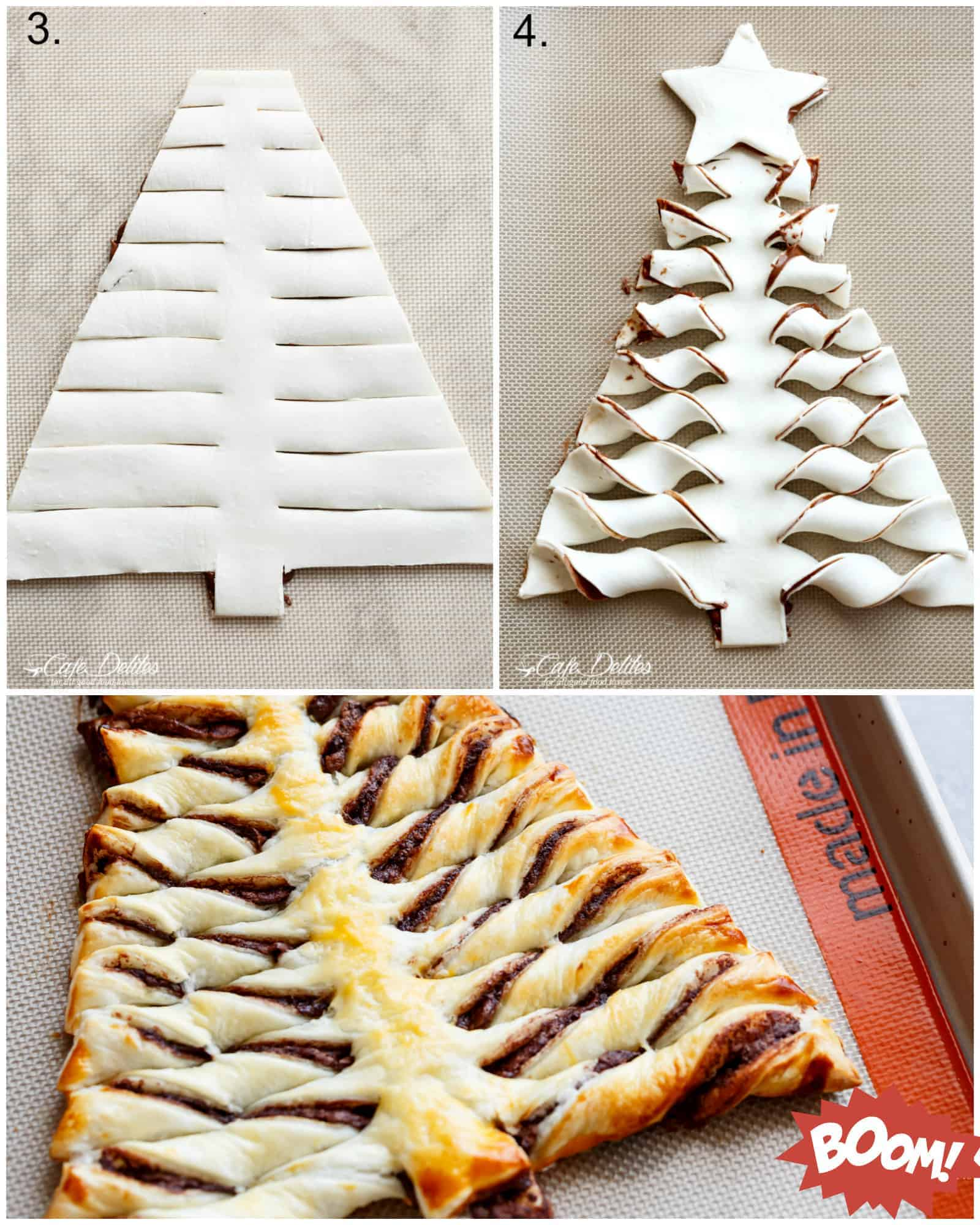 How To Make a Nutella Christmas Tree with Puff Pastry | cafedelites.com