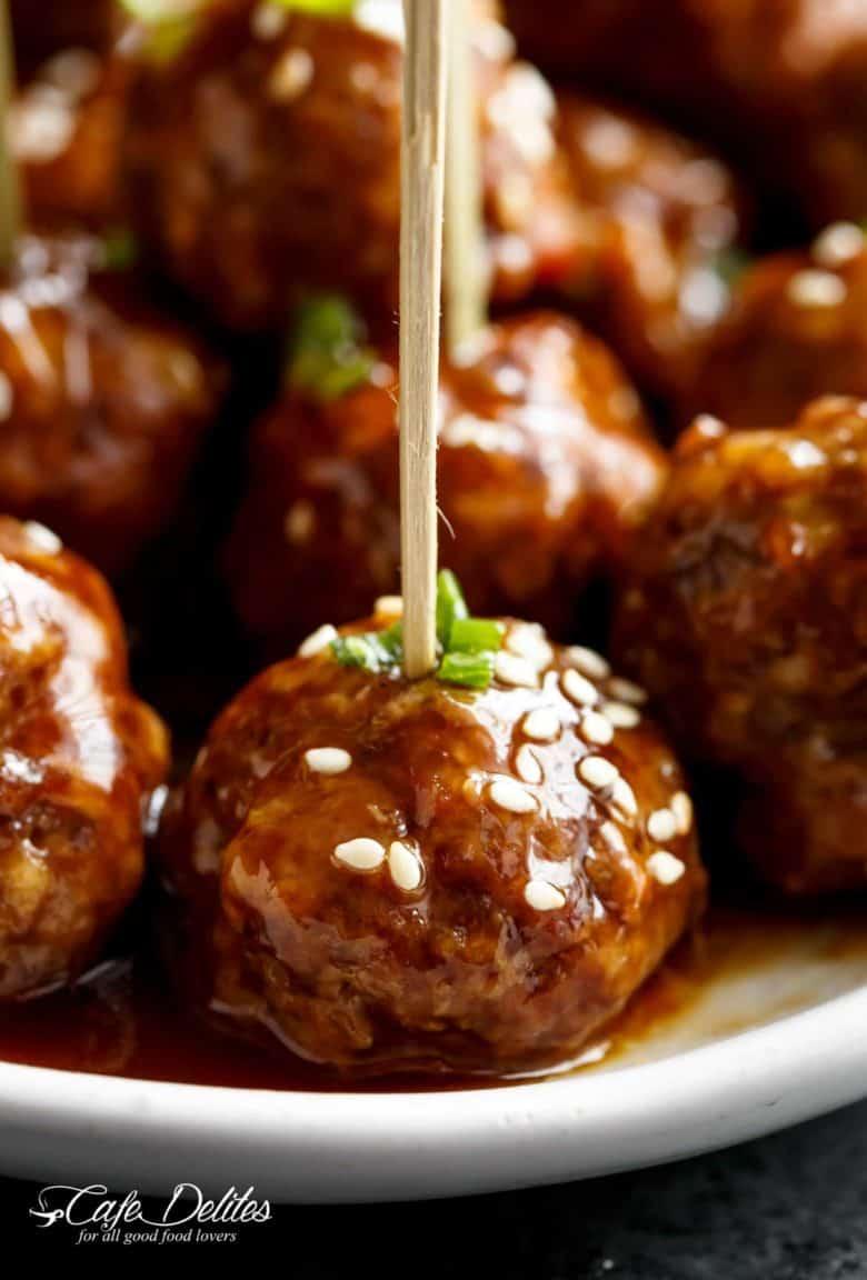 Teriyaki Beef Meatballs | cafedelites.com