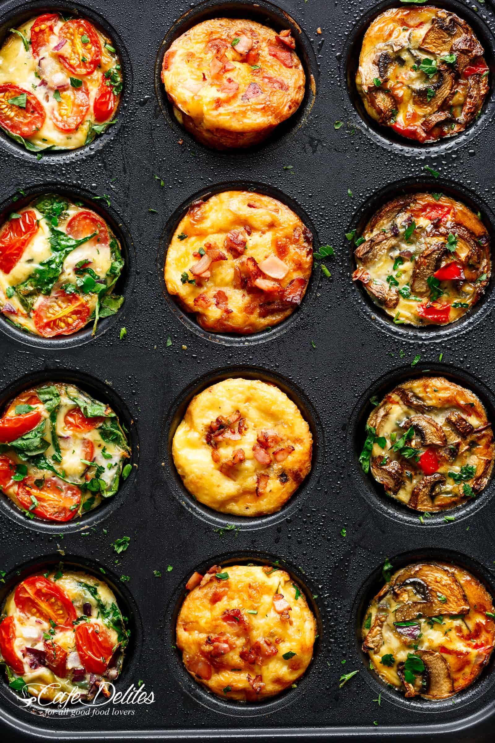 Breakfast Egg Muffins 3 Ways are low carb, filling and quick to grab while running out of the door! | cafedelites.com