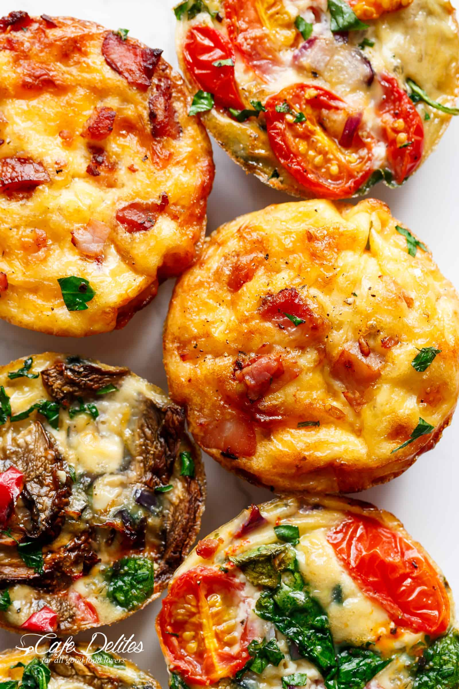 Breakfast Egg Muffins 3 Ways can be cooked ahead of time (meal prep) and refrigerated for when you need them! | cafedelites.com
