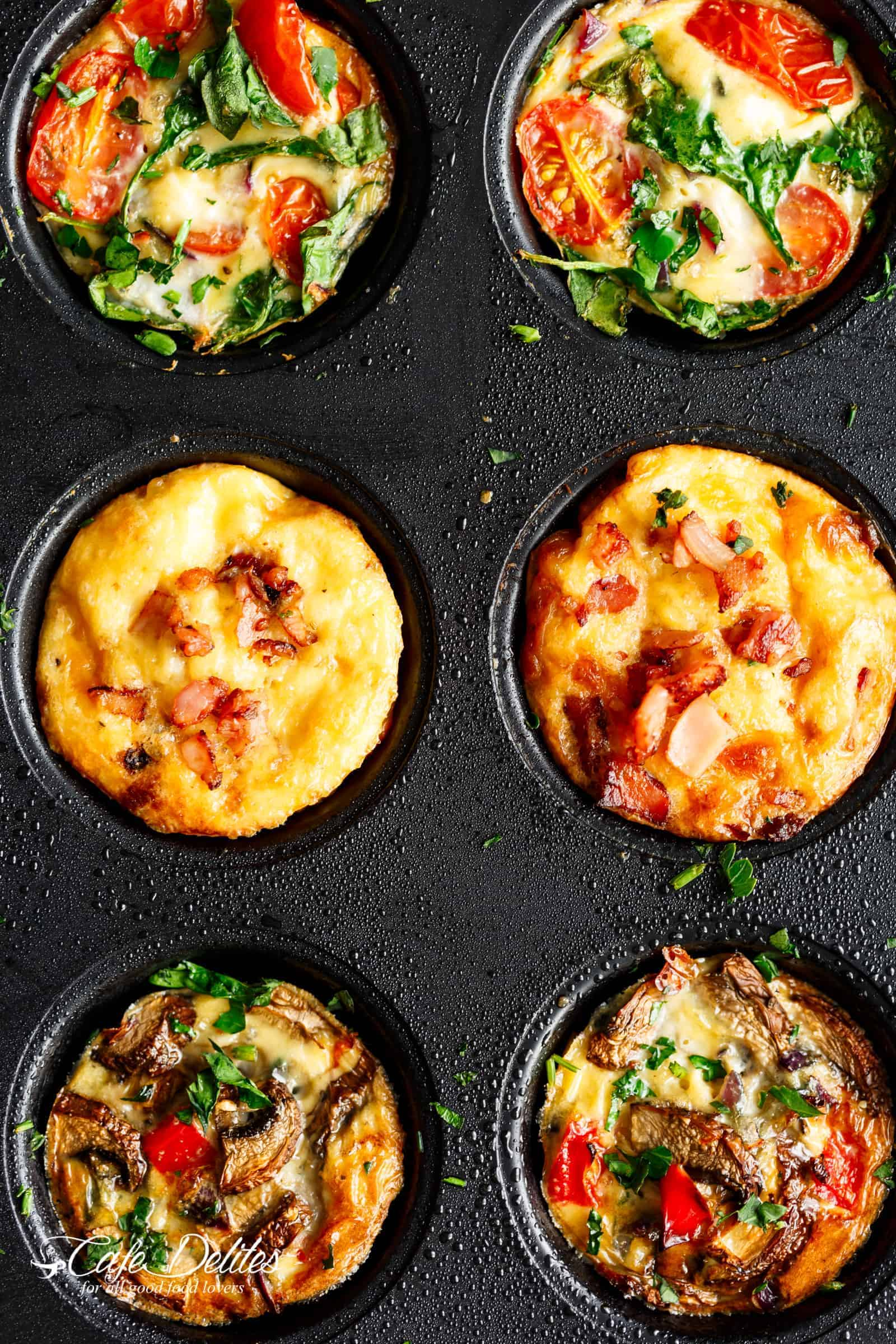 Breakfast Egg Muffins 3 Ways | cafedelites.com