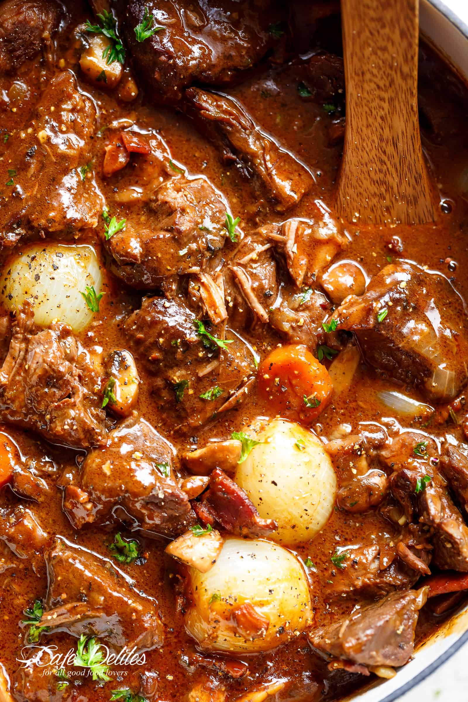 Beef Bourguignon recipe with Slow Cooker, Instant Pot/Pressure Cooker, Stove Top and the traditional Oven method included! | cafedelites.com
