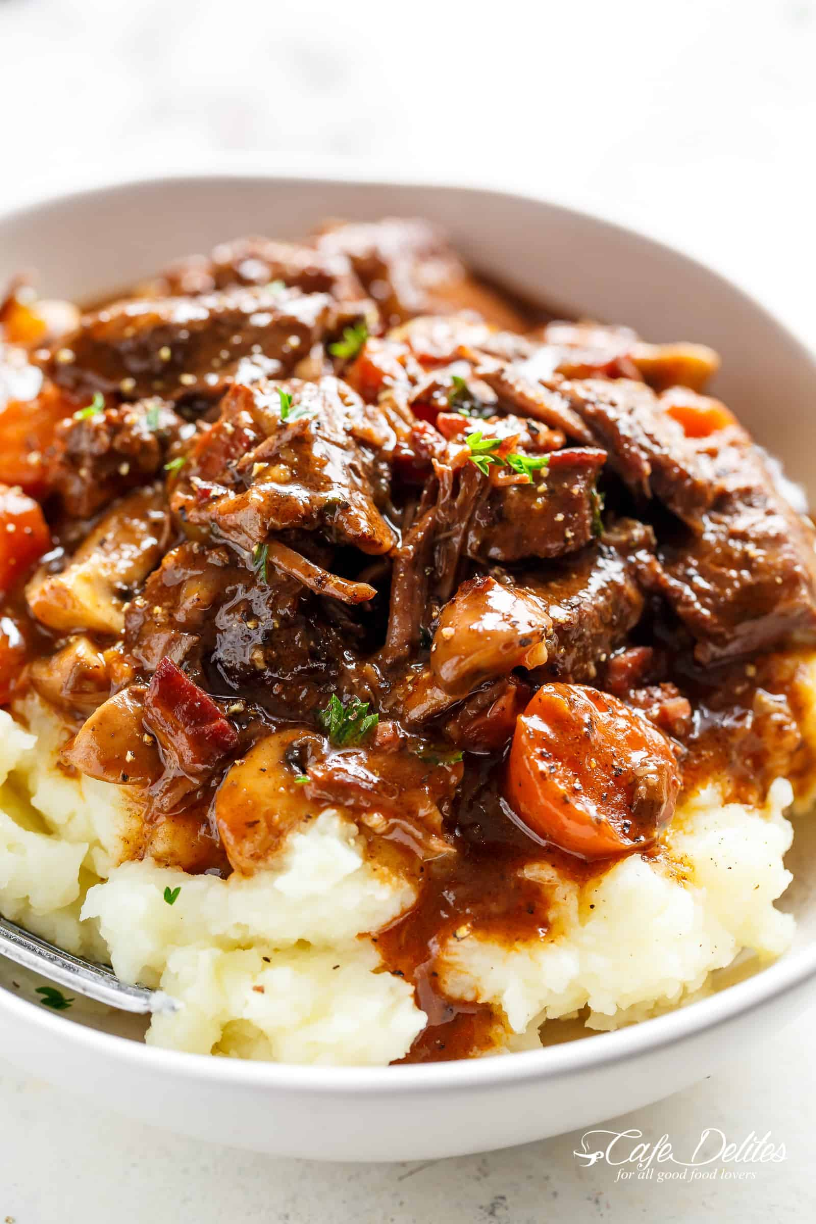 Beef Bourguignon with mashed potatoes | cafedelites.com