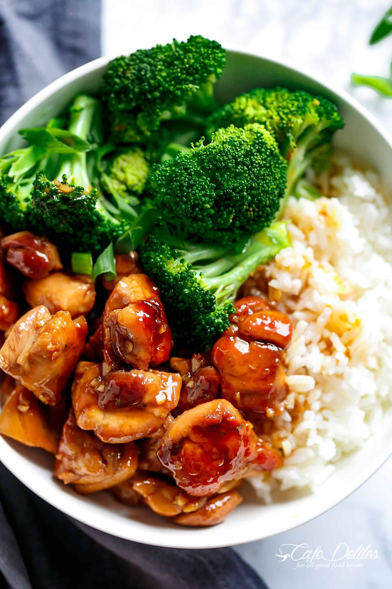 Teriyaki Chicken And Rice Bowls | cafedelites.com