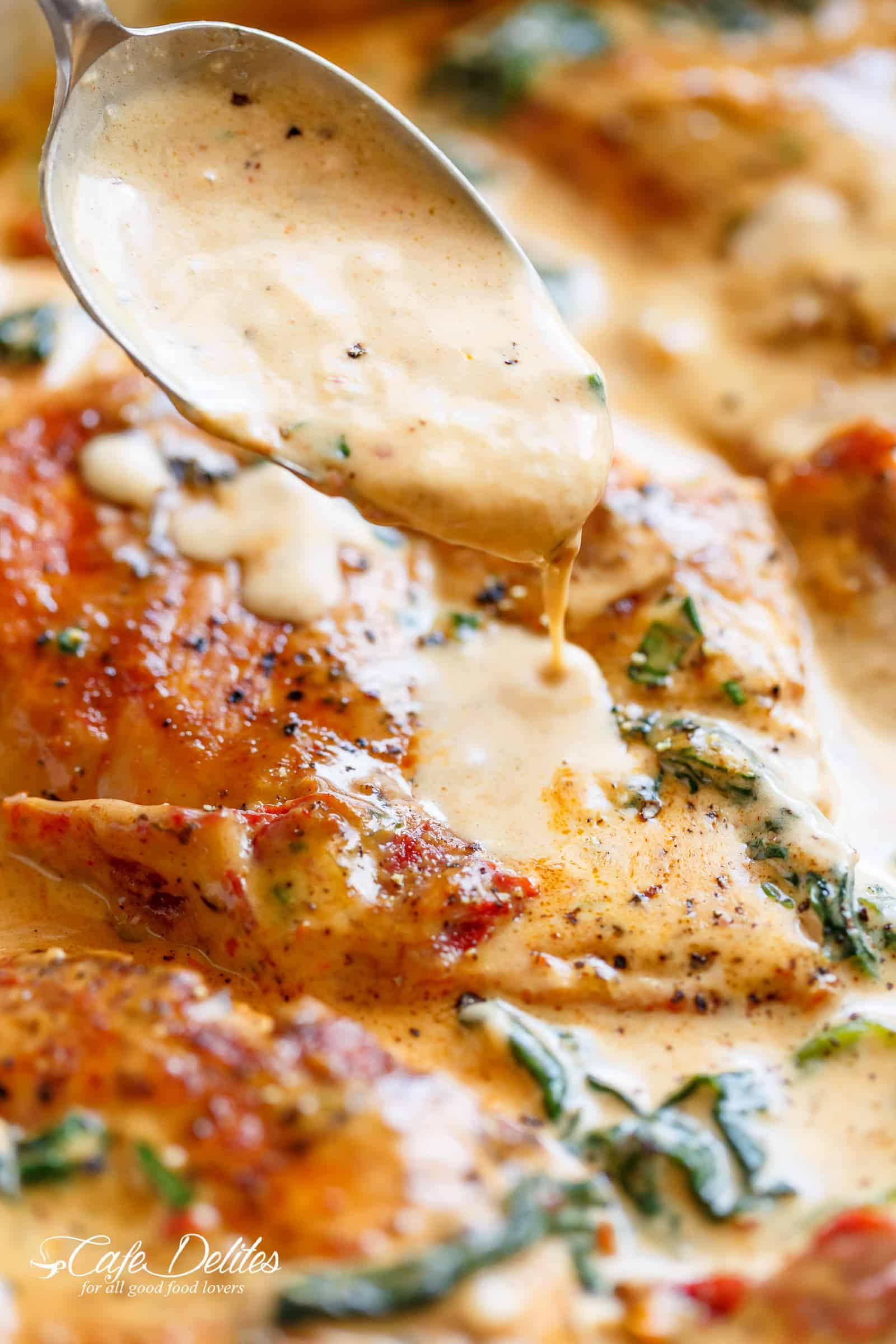 Tuscan Chicken with sun dried tomatoes, parmesan cheese and spinach creamy sauce