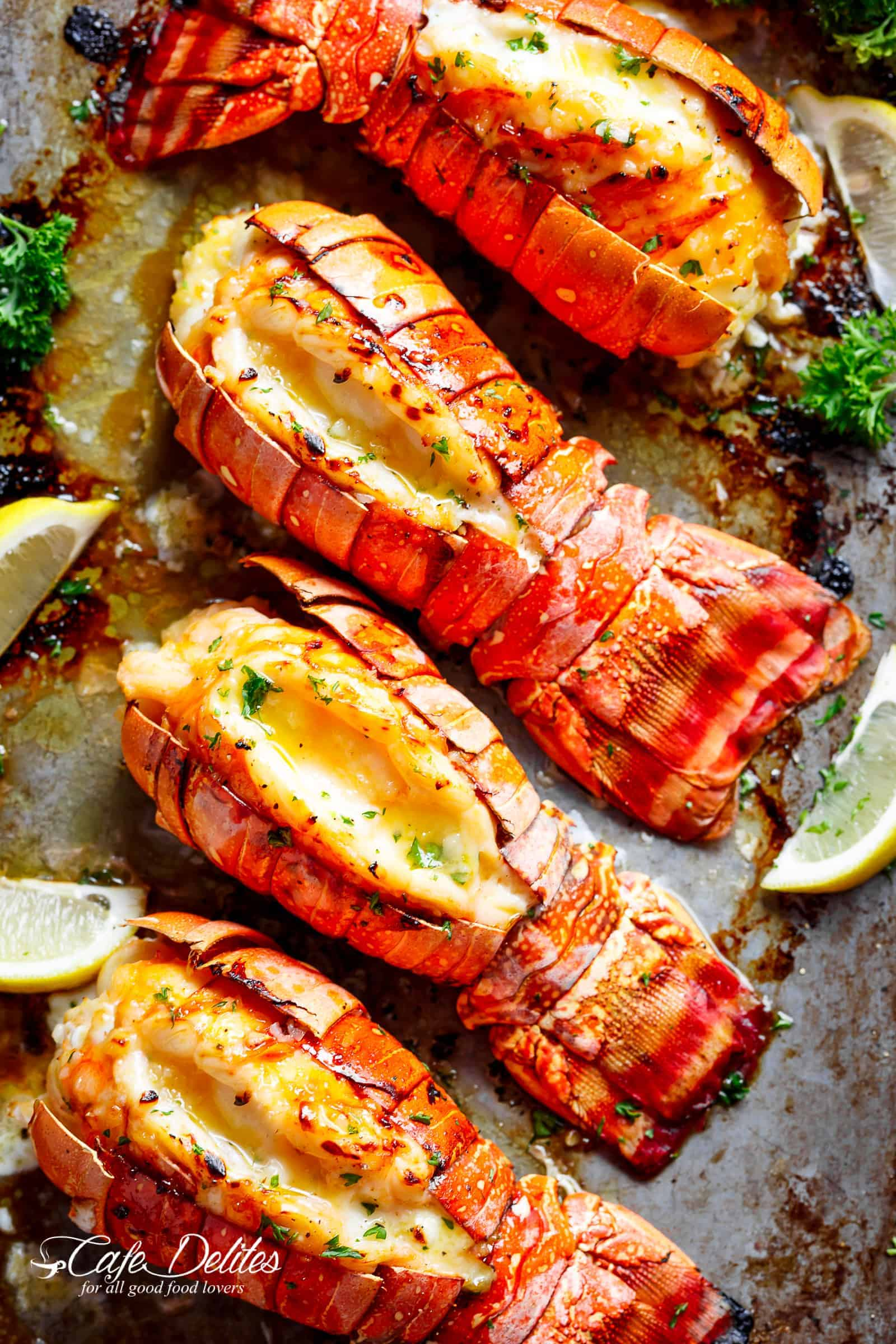 Lobster Tails with Honey Garlic Butter White Wine Sauce ...