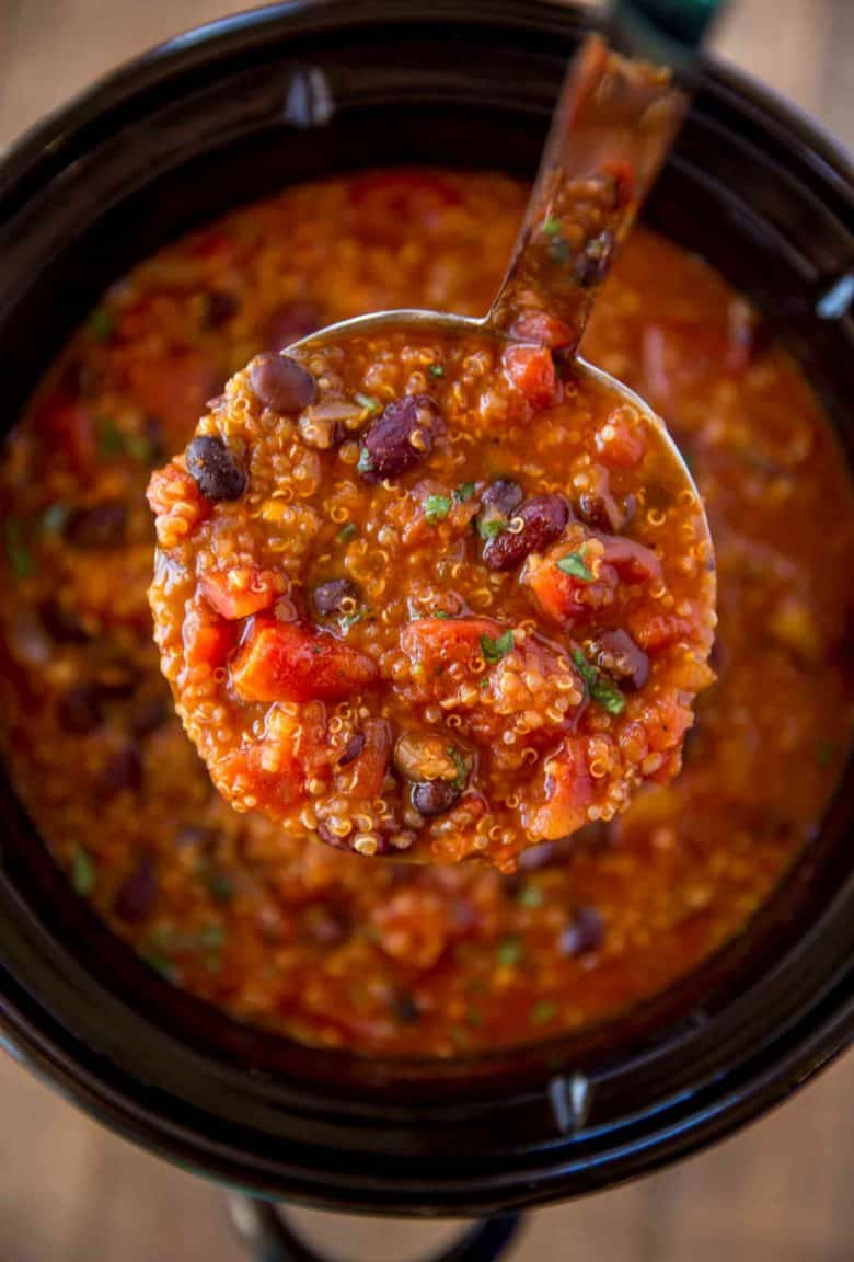 Ladle of Vegetarian Quinoa Chili