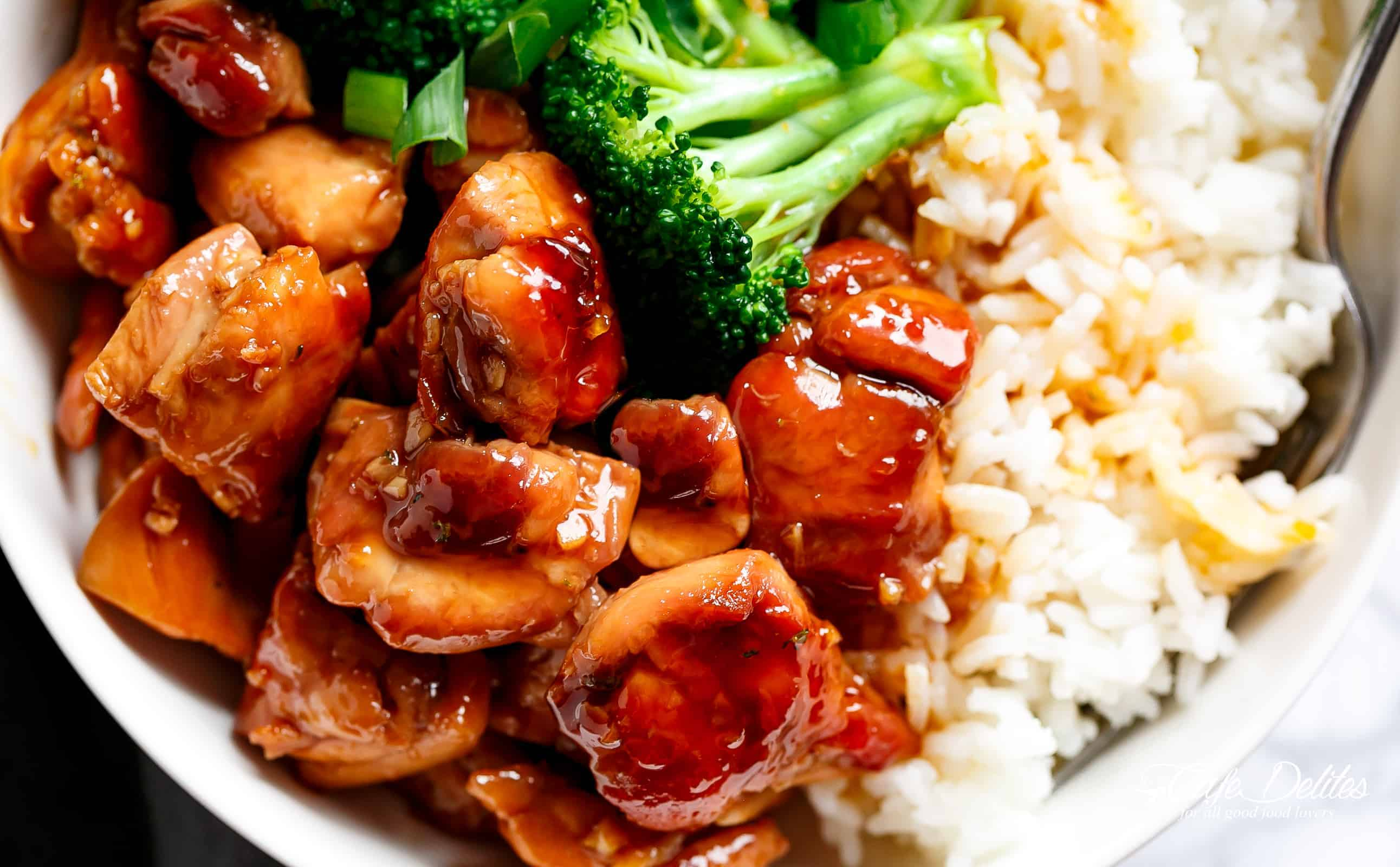 Teriyaki Chicken thighs stir-fried and swimming in a beautiful flavoured homemade teriyaki sauce! | cafedelites.com