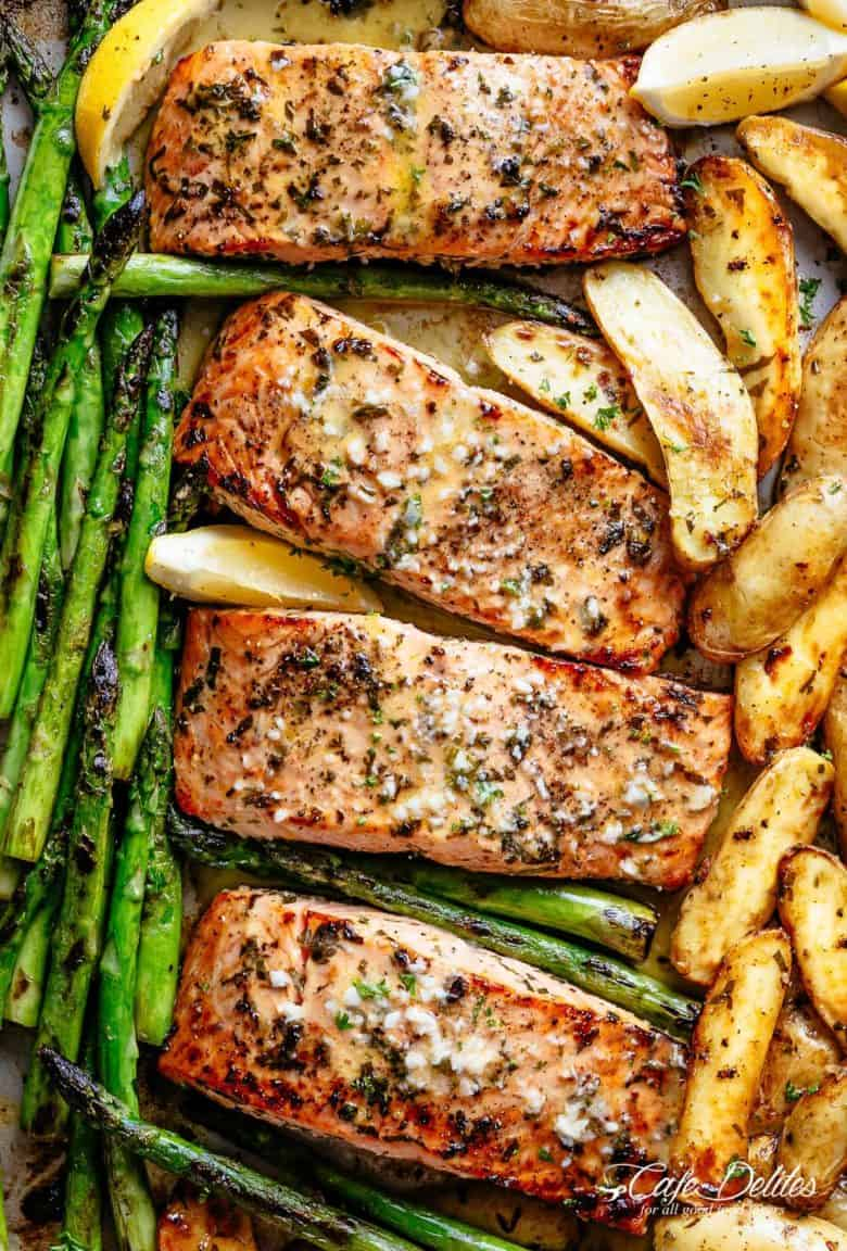 Sheet Pan Garlic Butter Baked Salmon
