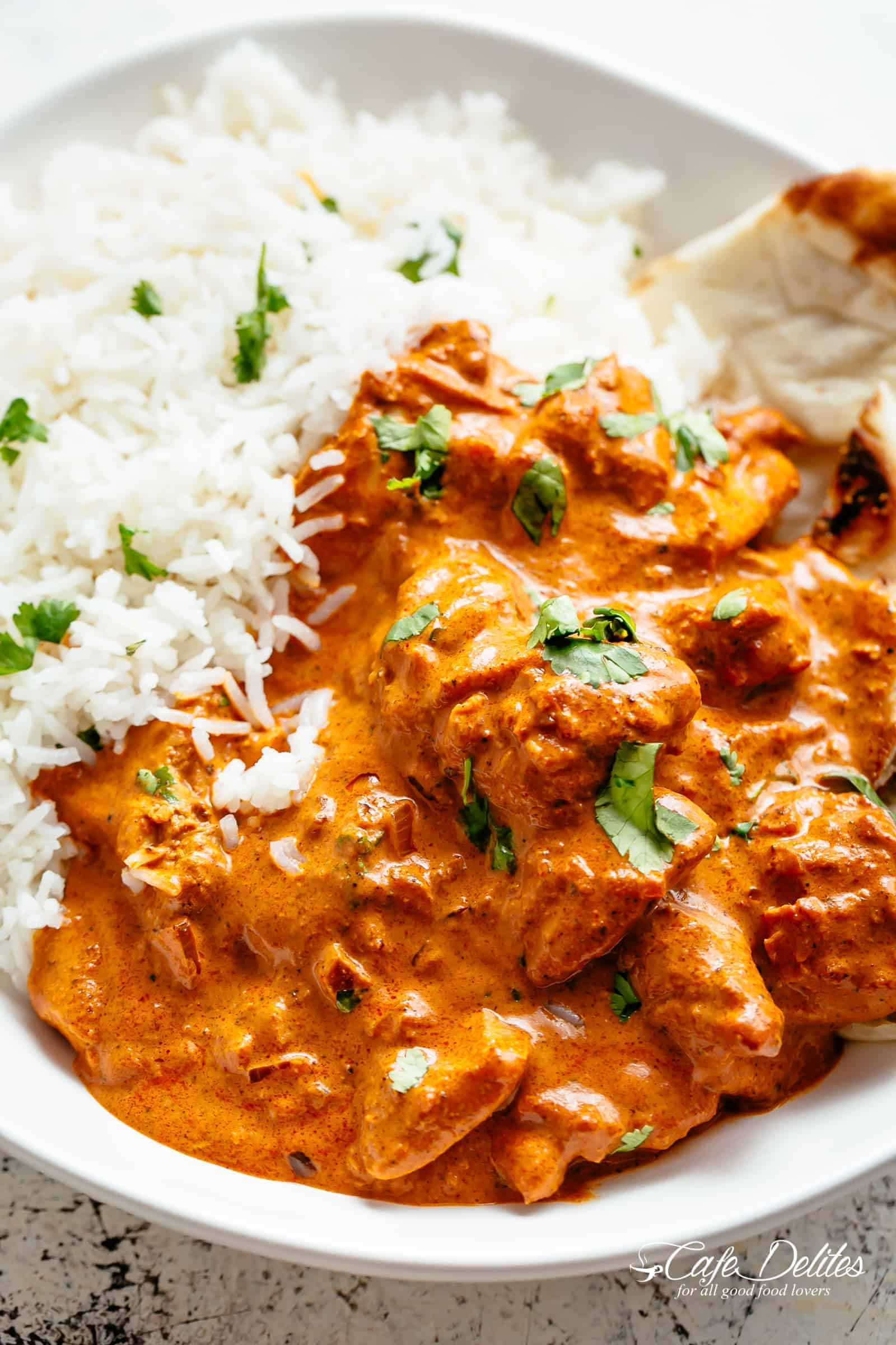 Chicken Tikka Masala with Basmati Rice and Naan bread | cafedelites.com