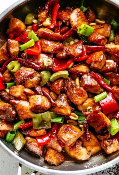Kung Pao Chickenis highly addictive stir-fried chicken with the perfect combination of salty, sweet and spicy flavour! Make it better than Chinese take out right at home! With crisp-tender chicken pieces and some crunchy veggies thrown in, this is one Kung Pao chicken recipe hard to pass up!   cafedelites.com