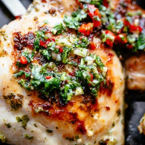 The Best Chimichurri Chicken, grilled or pan fried with authentic Argentine chimichurri! Chimichurri is growing fast in popularity and is the most perfect condiment to serve with your chicken!So easy to make and tastes incredible, yourChimichurri Chicken dinner is ready in minutes! | cafedelites.com
