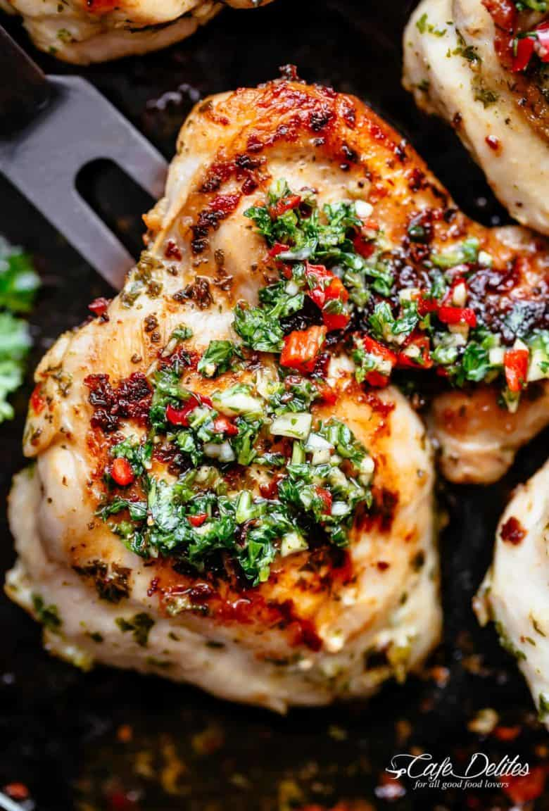 The Best Chimichurri Chicken, grilled or pan fried with authentic Argentine chimichurri! Chimichurri is growing fast in popularity and is the most perfect condiment to serve with your chicken! So easy to make and tastes incredible, your Chimichurri Chicken dinner is ready in minutes! | cafedelites.com