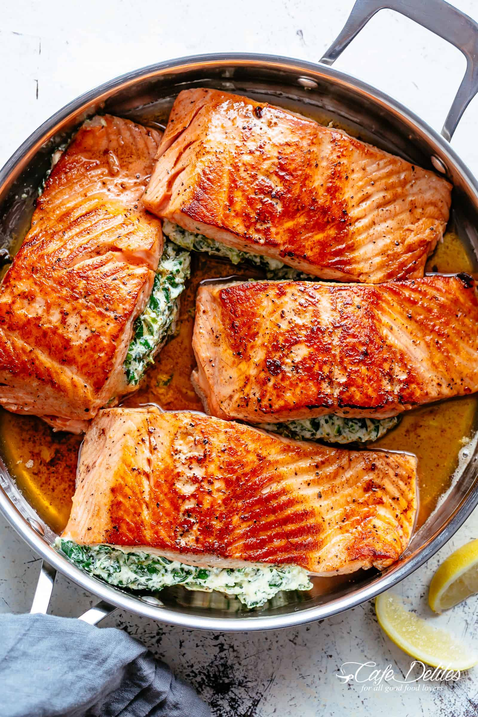 Creamy Spinach Stuffed Salmon in Garlic Butter - Cravings ...