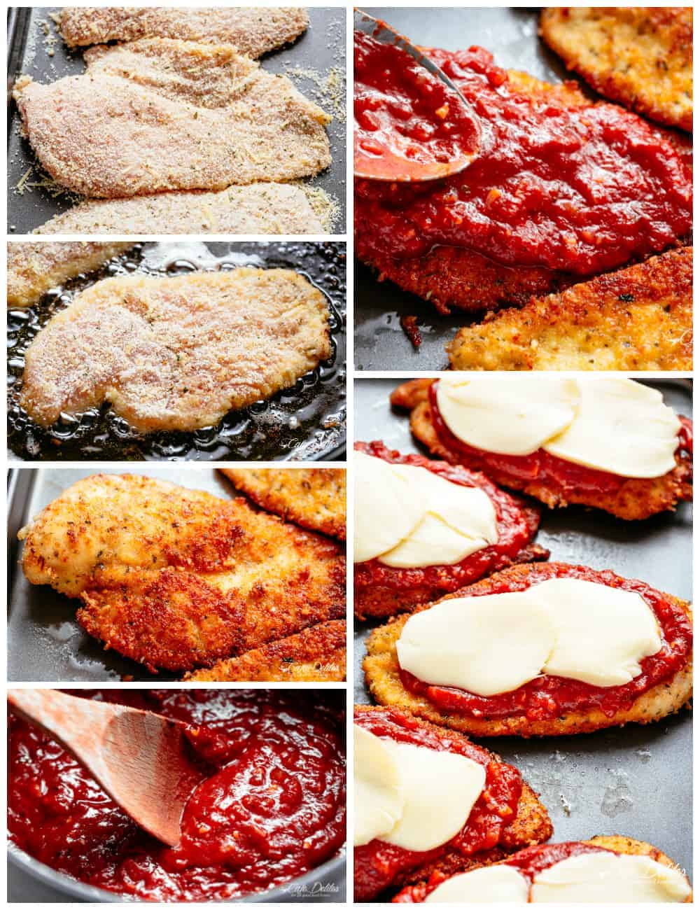 How To Make The Best Chicken Parmesan with a crispy crumb coating! All steps displayed in a collage| cafedelites.com