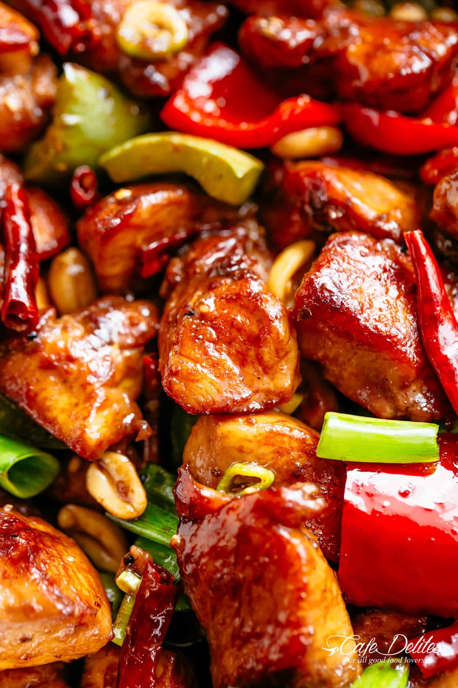 Kung Pao Chicken with the perfect combination of salty, sweet and spicy flavour! | cafedelites.com