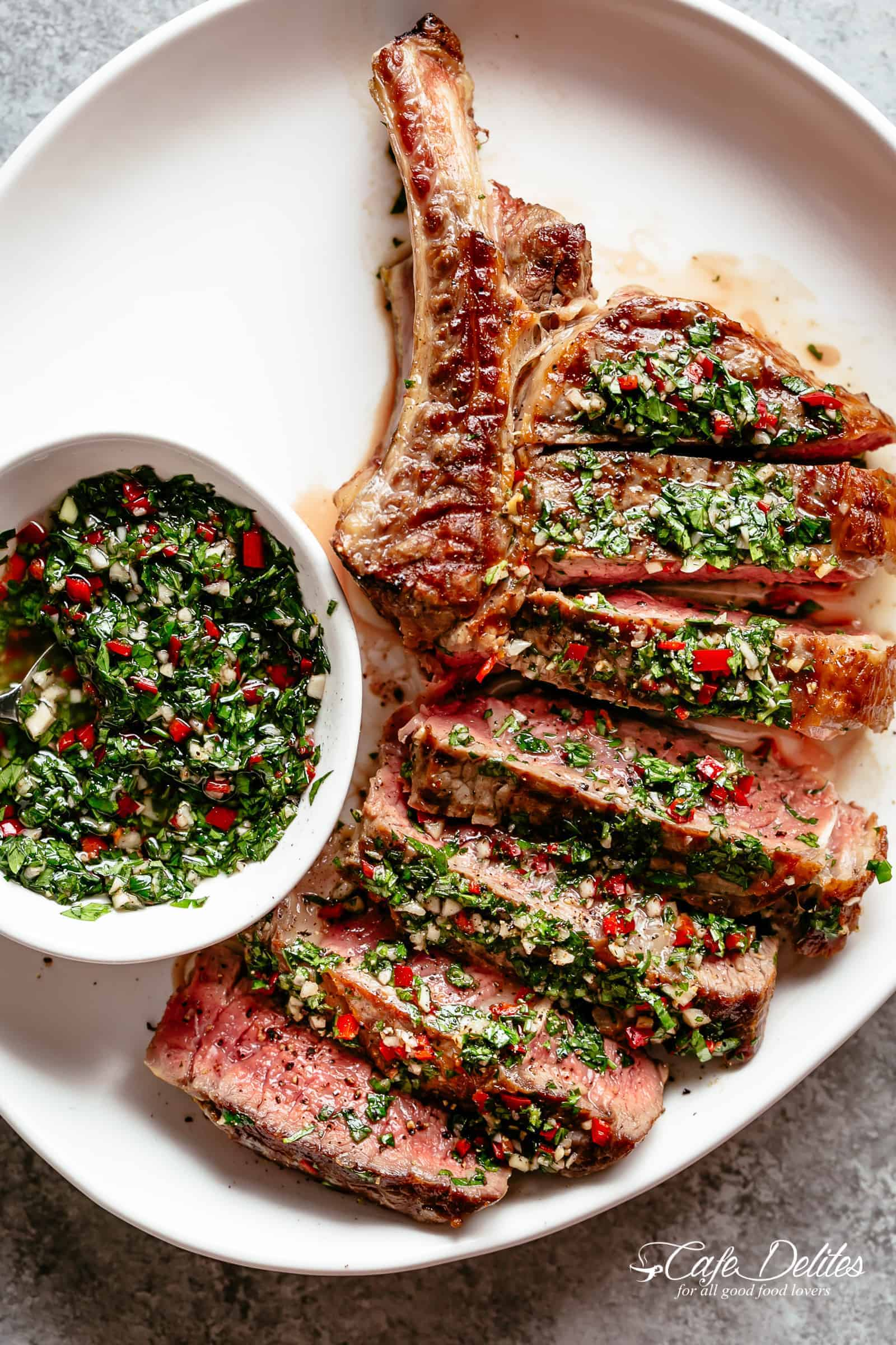 Steaks with Chimichurri! The most delicious silky condiment that drips over your steak | cafedelites.com