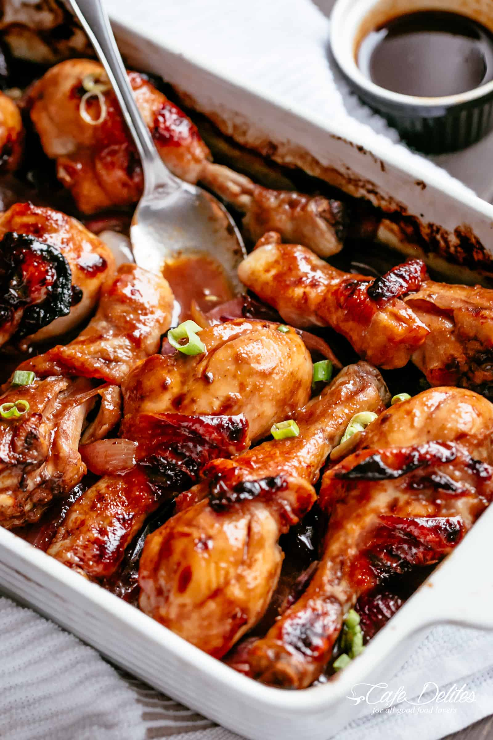 Oven Baked Barbecue Soy Chicken Drumsticks are so quick & simple to make! Baked in a 3 ingredient sauce packed with so much flavour, this chicken is a hit! Ready and on the table in minutes! NO MARINATING | https://cafedelites.com
