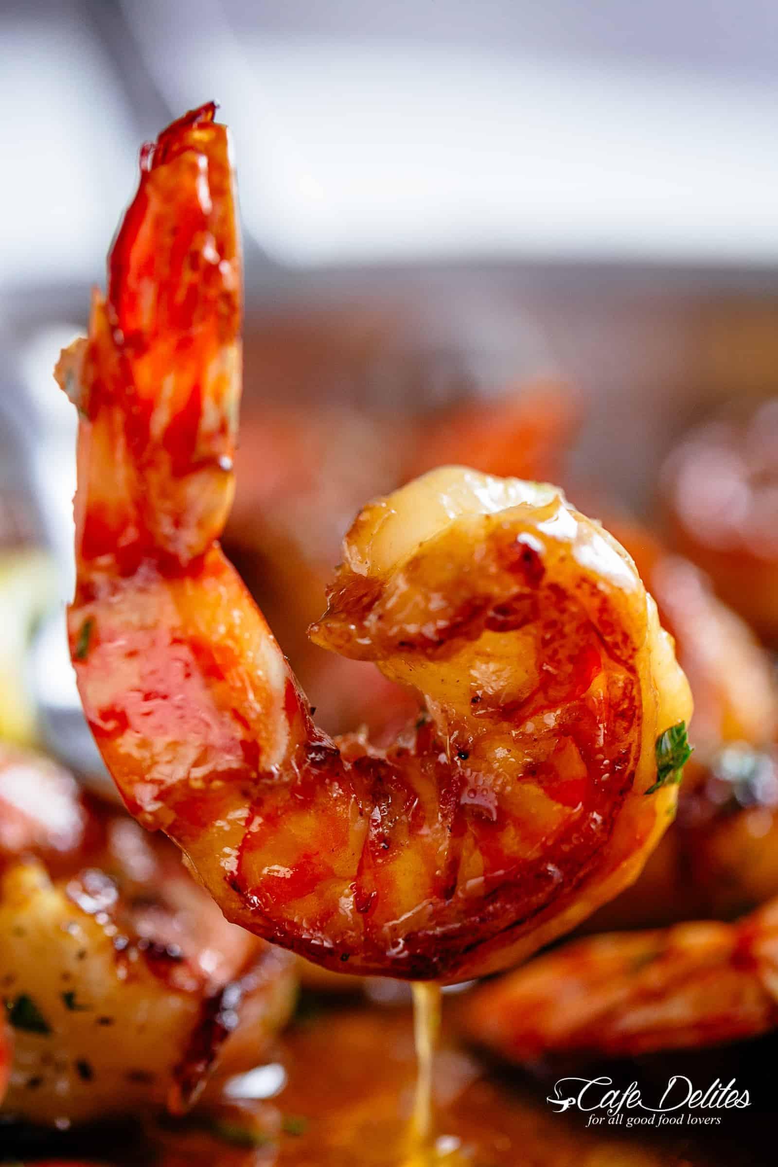 Honey Garlic Shrimp coated in the best honey garlic butter sauce | cafedelites.com