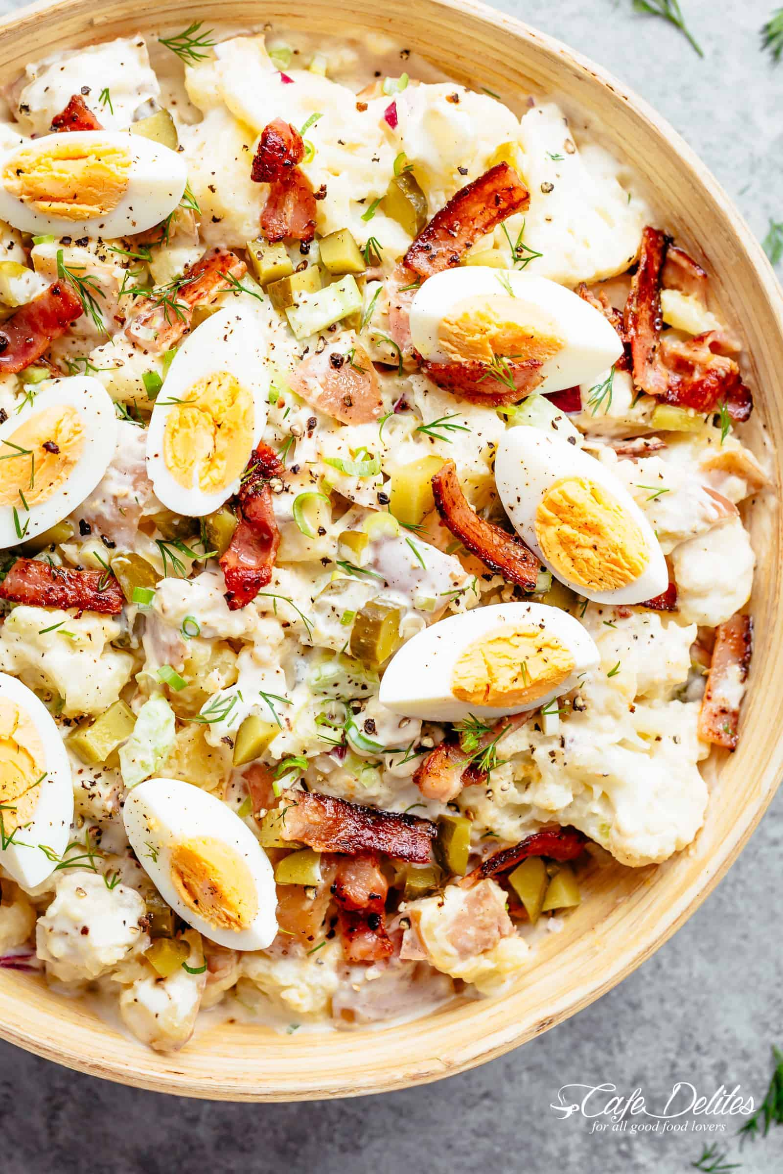Potato Salad with Bacon, Dill Pickles, Eggs AND a creamy mayo/sour cream dressing! | cafedelites.com
