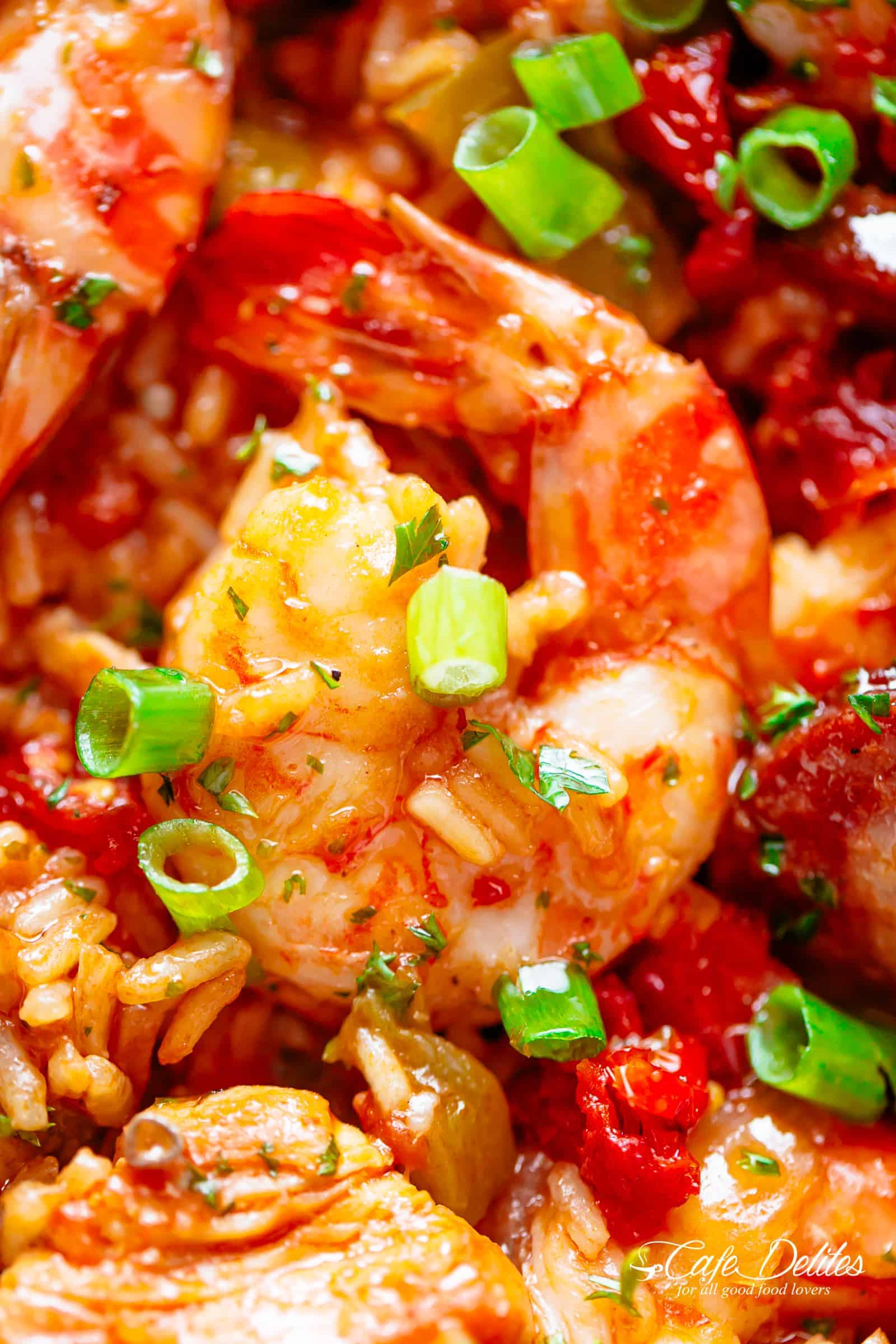 Jambalaya with chicken, shrimp and andouille sausage | cafedelites.com
