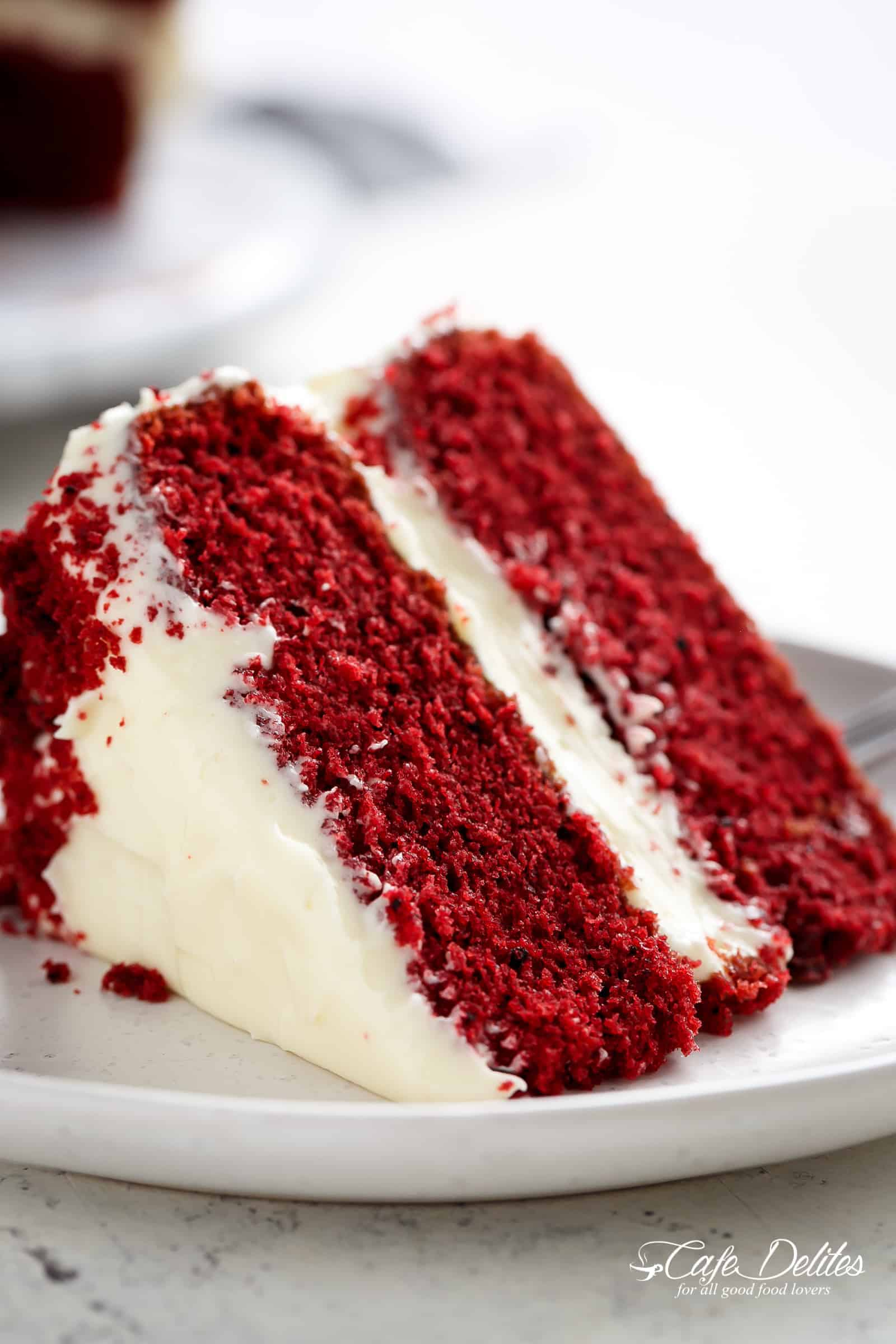 A slice of red velvet cake | cafedelites.com