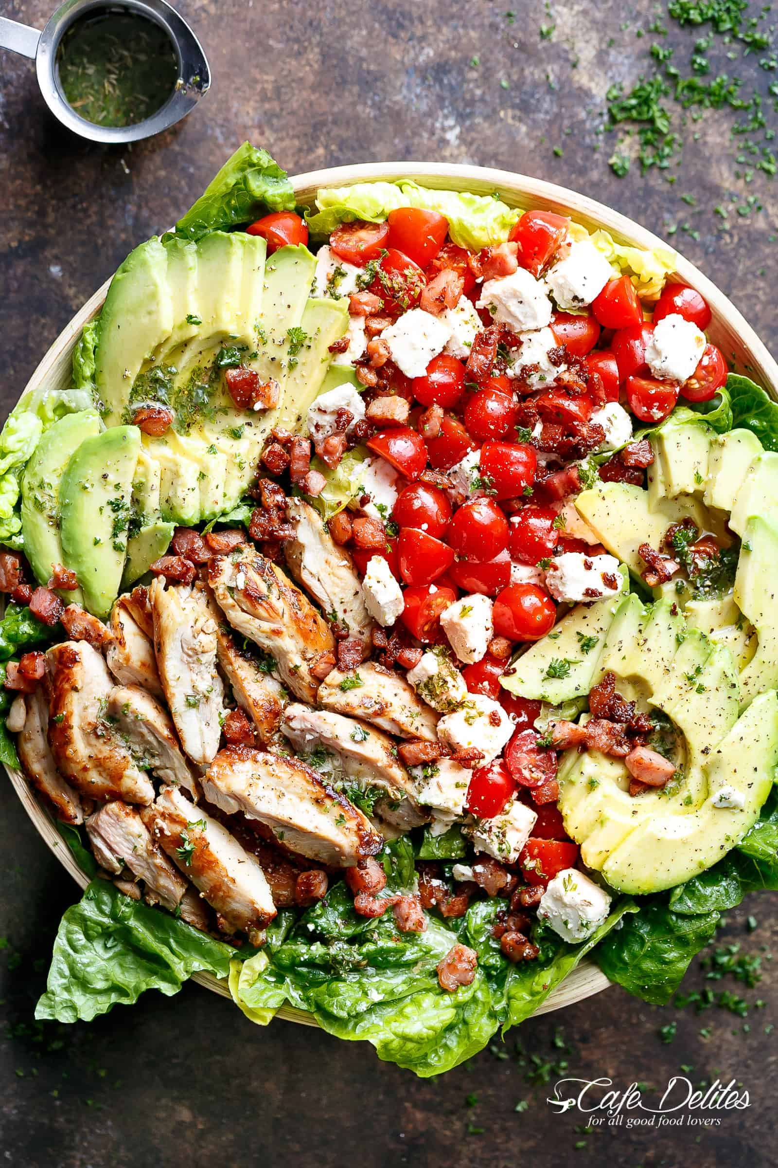 Lemon Herb Avocado Chicken Salad Recipe with crispy bacon & creamy feta cheese with a dressing that doubles as a marinade! | cafedelites.com