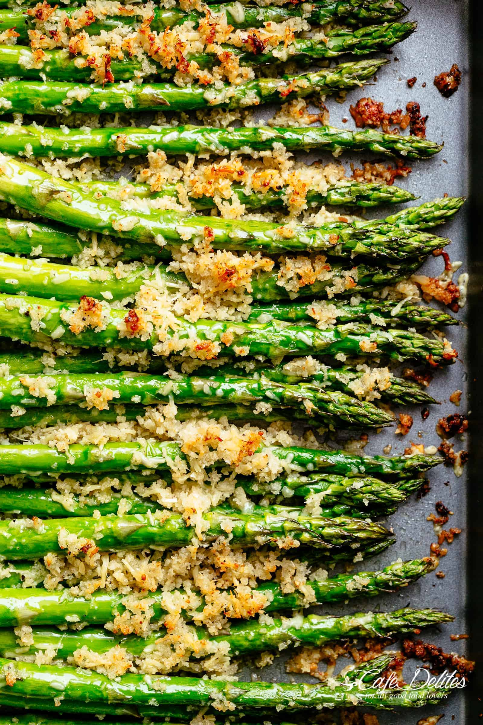 Crispy Parmesan Asparagus With Garlic Butter Cafe Delites