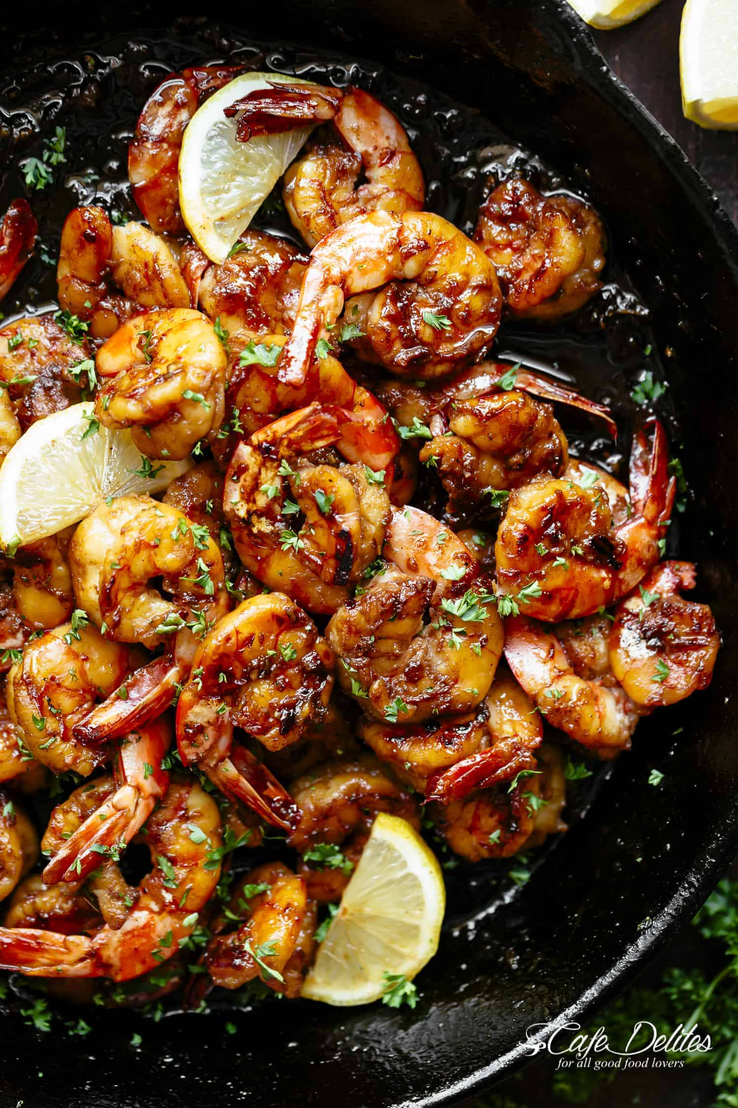 Browned Butter Honey Garlic Shrimp | cafedelites.com