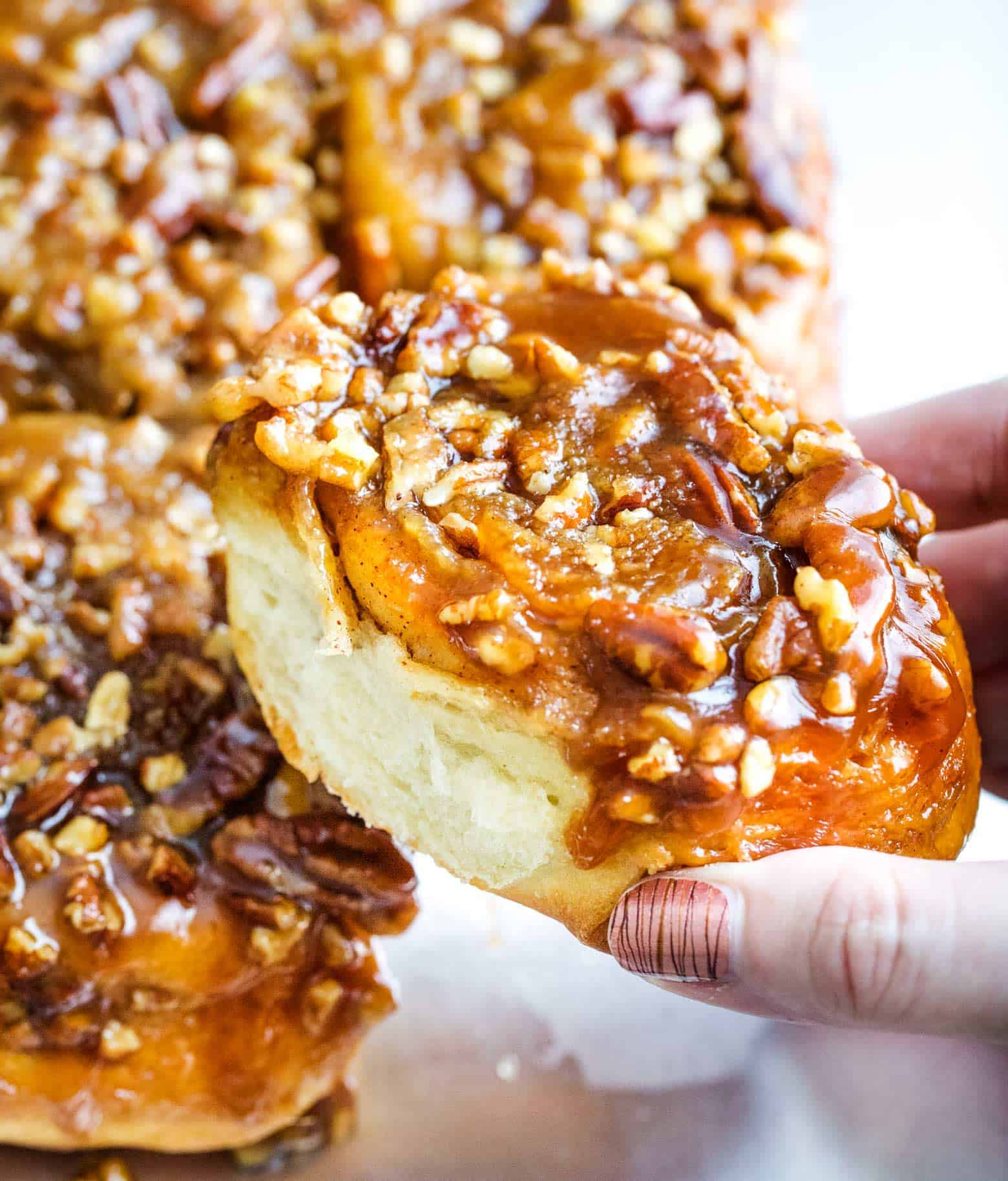 These maple pecan sticky buns perfect a cold morning or for a holiday breakfast. Soft, sweet and sticky, these buns are so much fun to make! | cafedelites.com