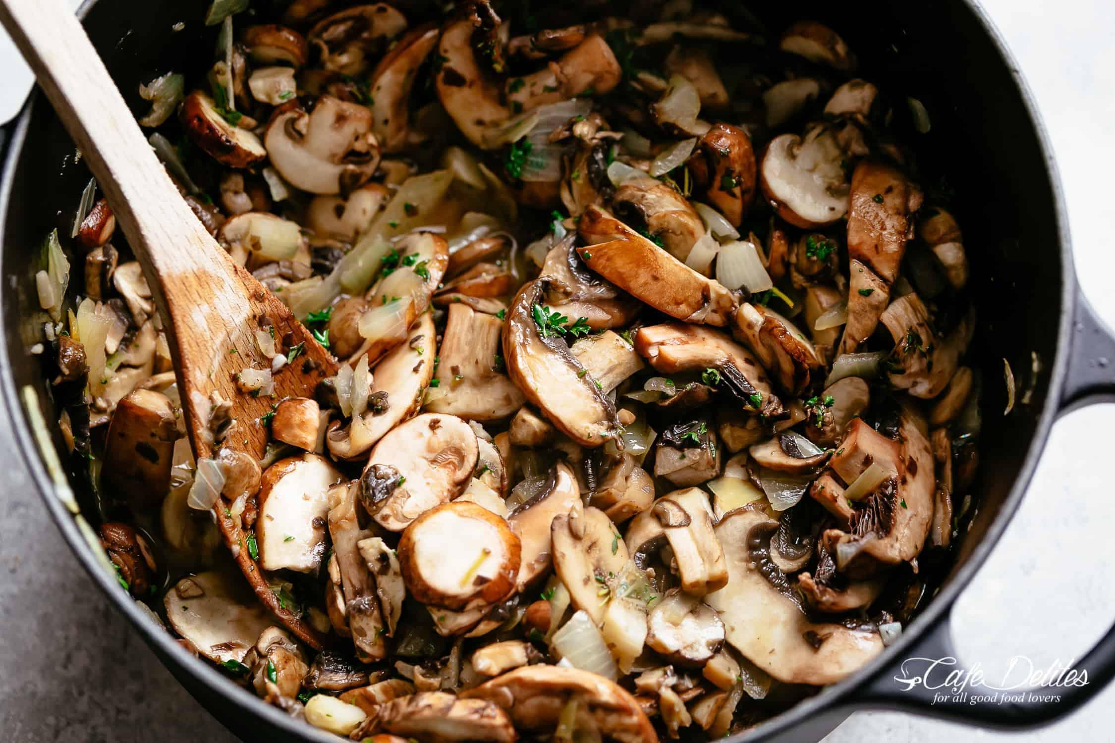 How to make cream of mushroom soup | cafedelites.com